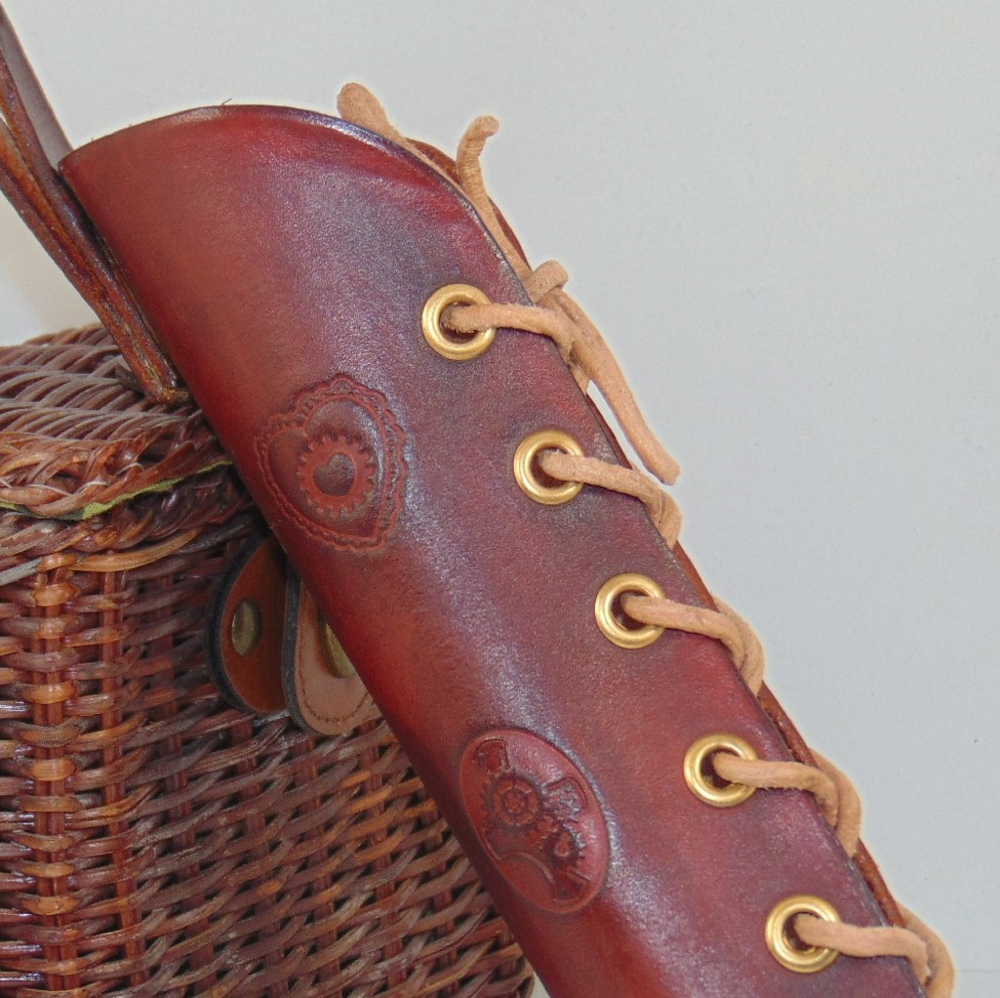 Parasol or Umbrella Holster, handmade in red/brown leather.