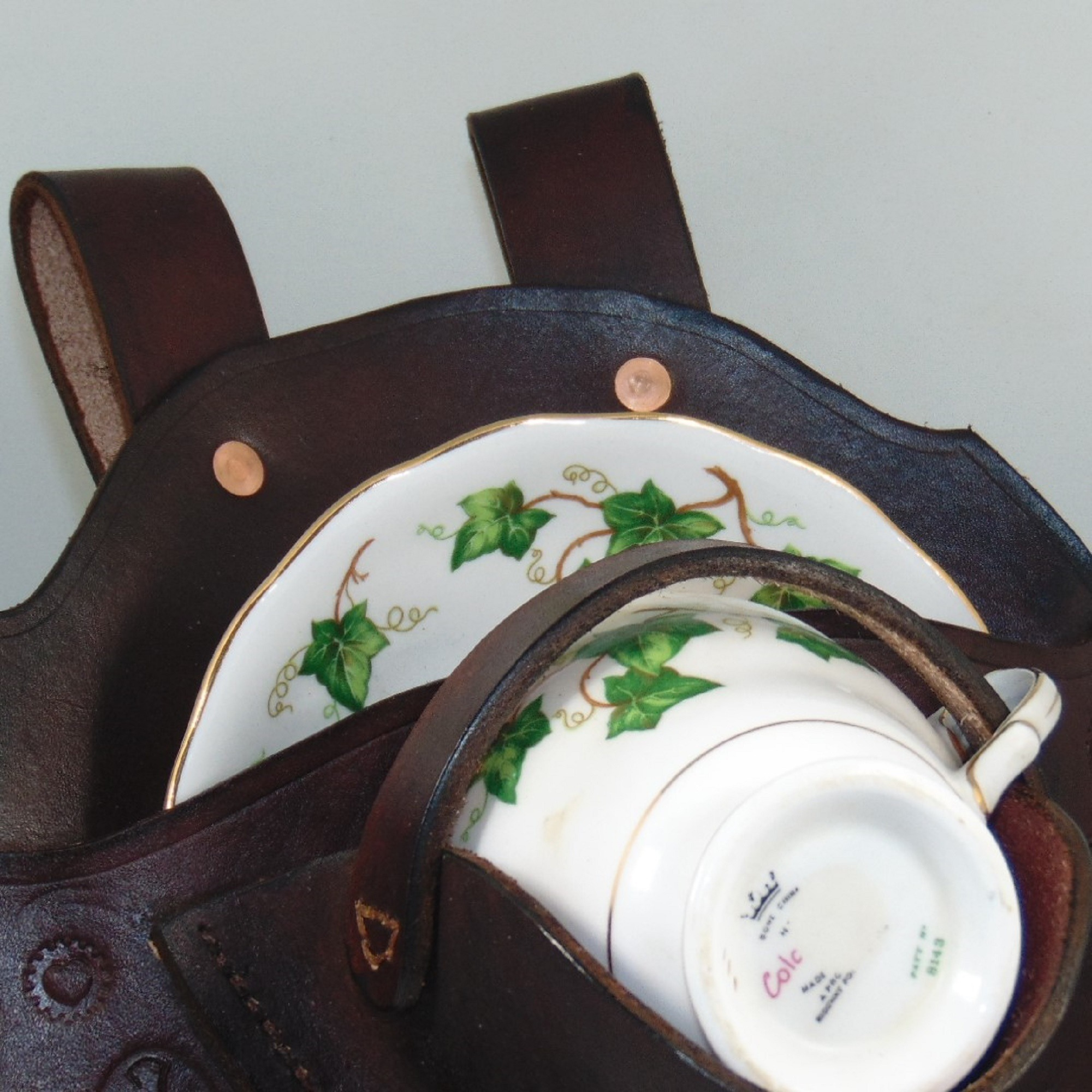 Tea Cup & Saucer Holster, handmade in leather