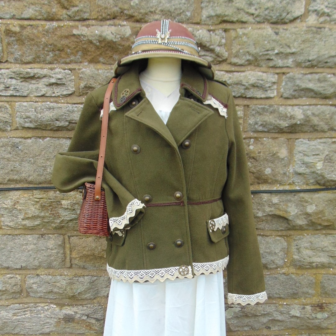 Jacket - Military Style Ladies Waist Length in Olive Green