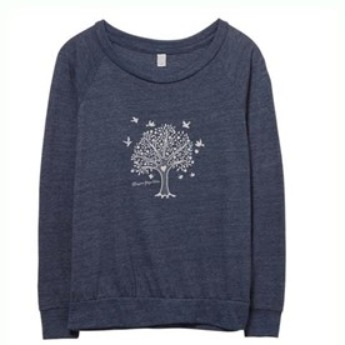 Slouchy Tree of Life Long Sleeve Top - Blue S