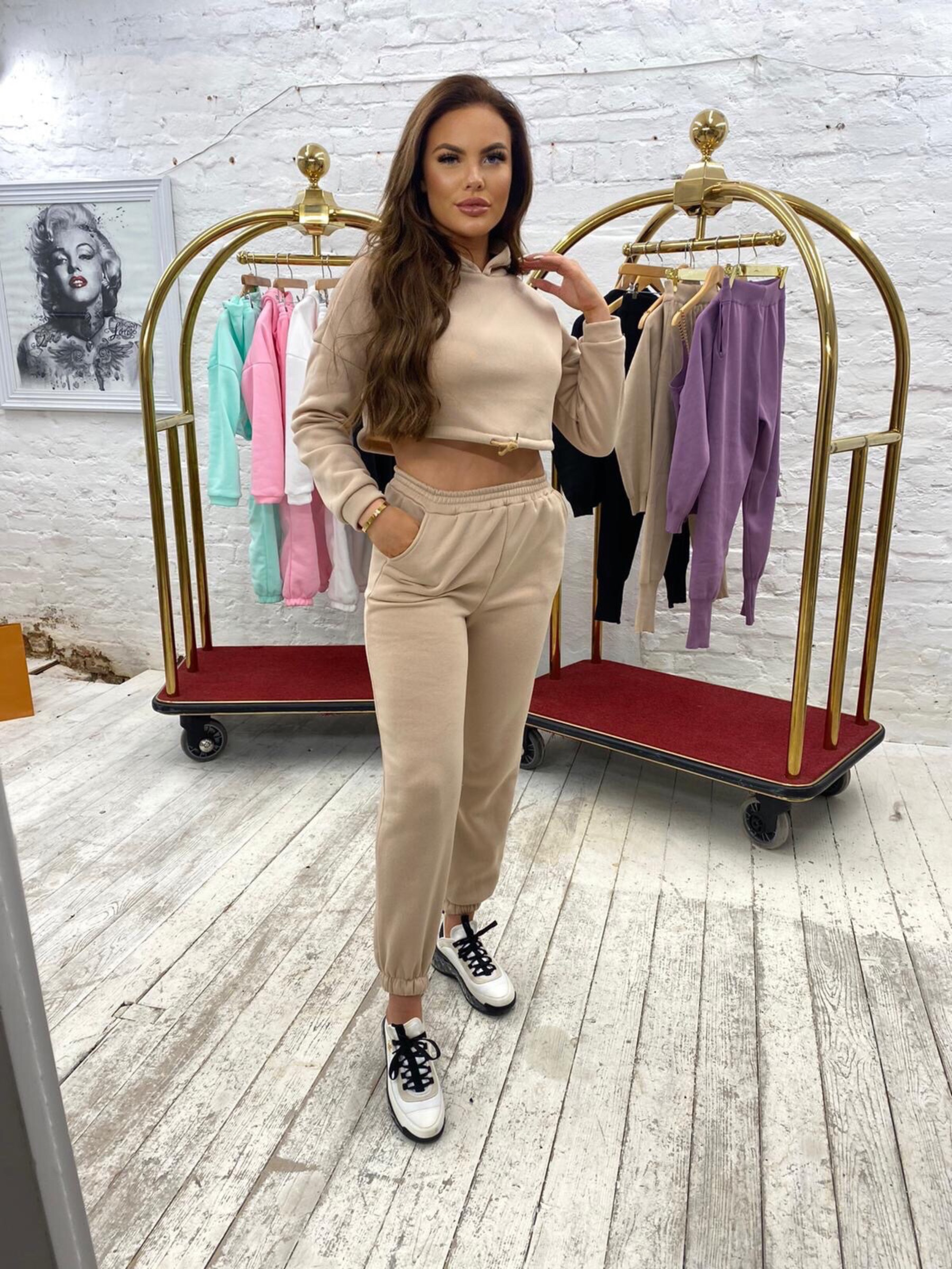 Luxury cropped tracksuit 'Beige'