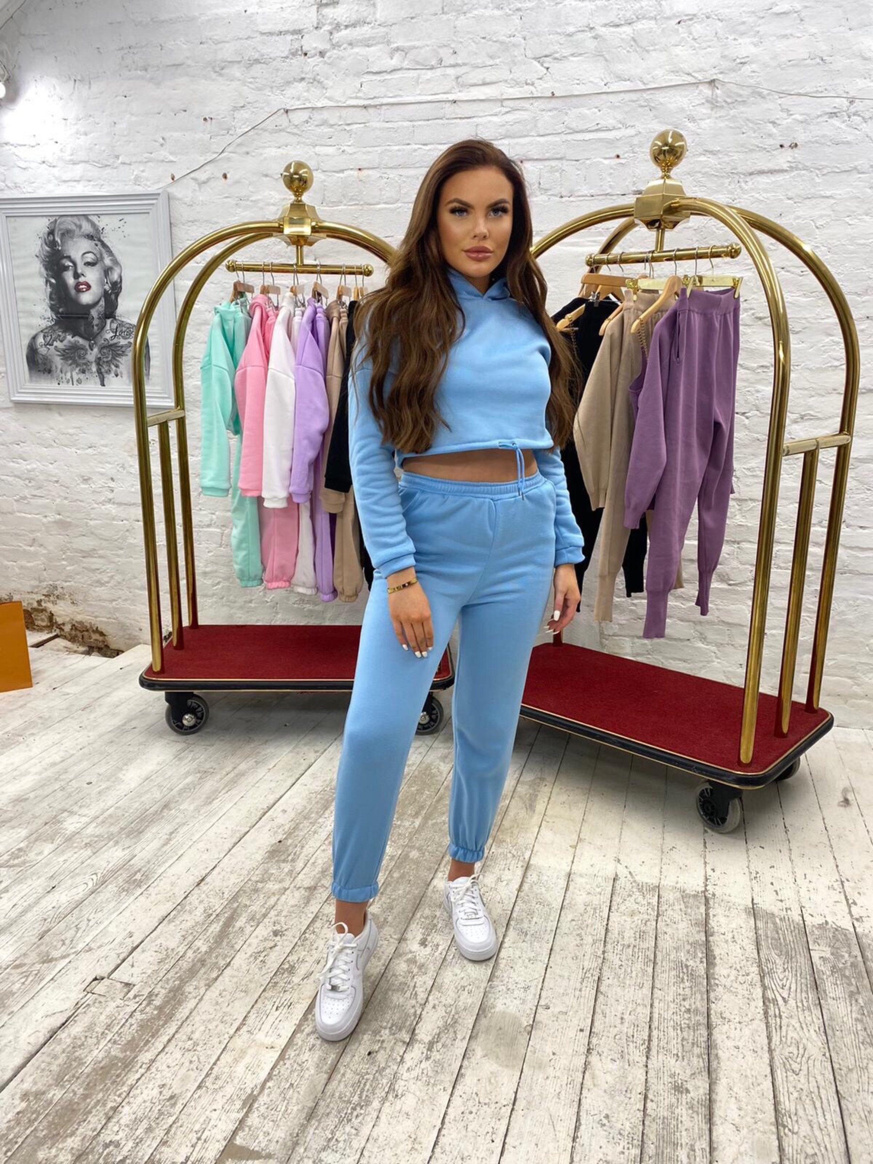 Luxury cropped tracksuit 'Blue'