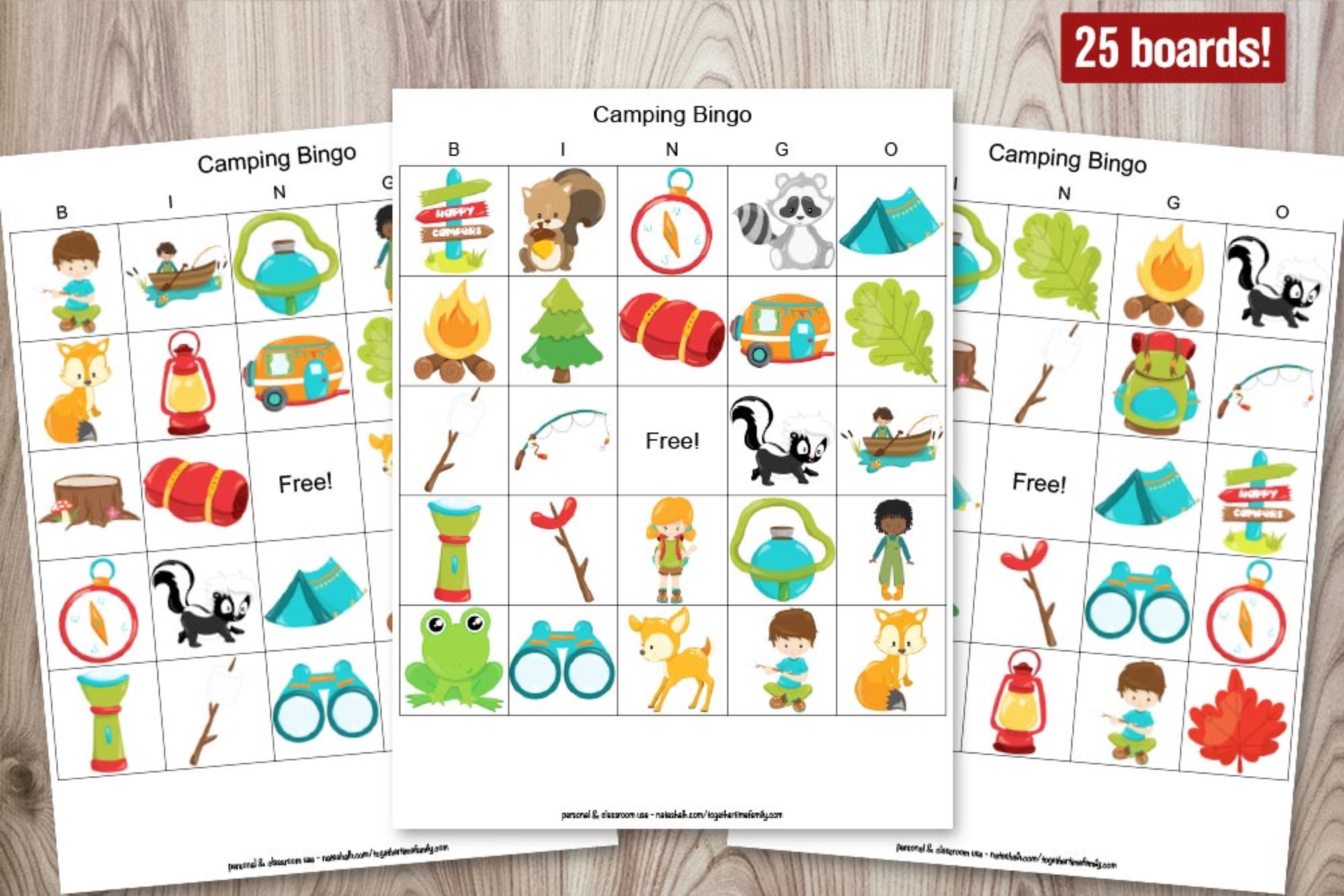 Camping Bingo Boards - 25 unique cards