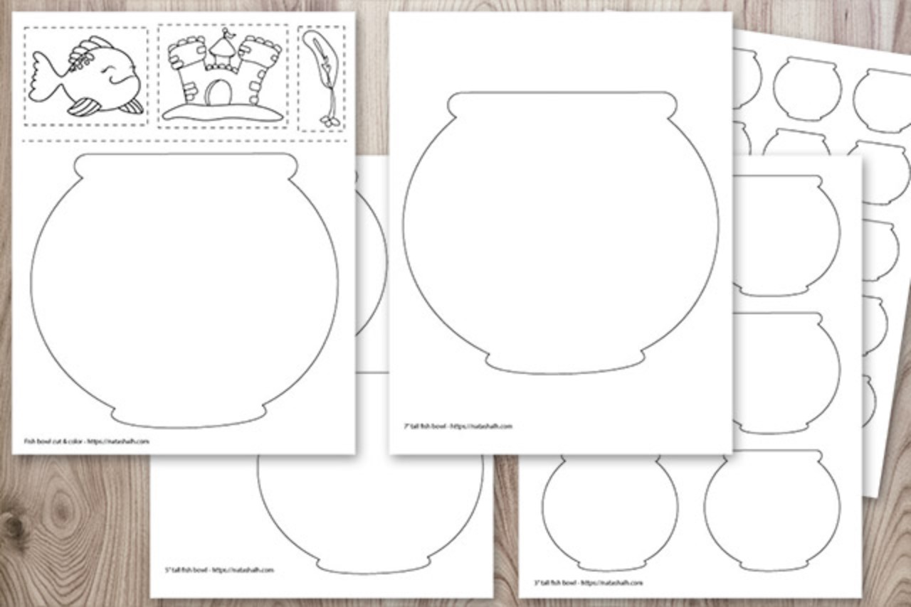 Fish Bowl Templates and Cut & Color Page