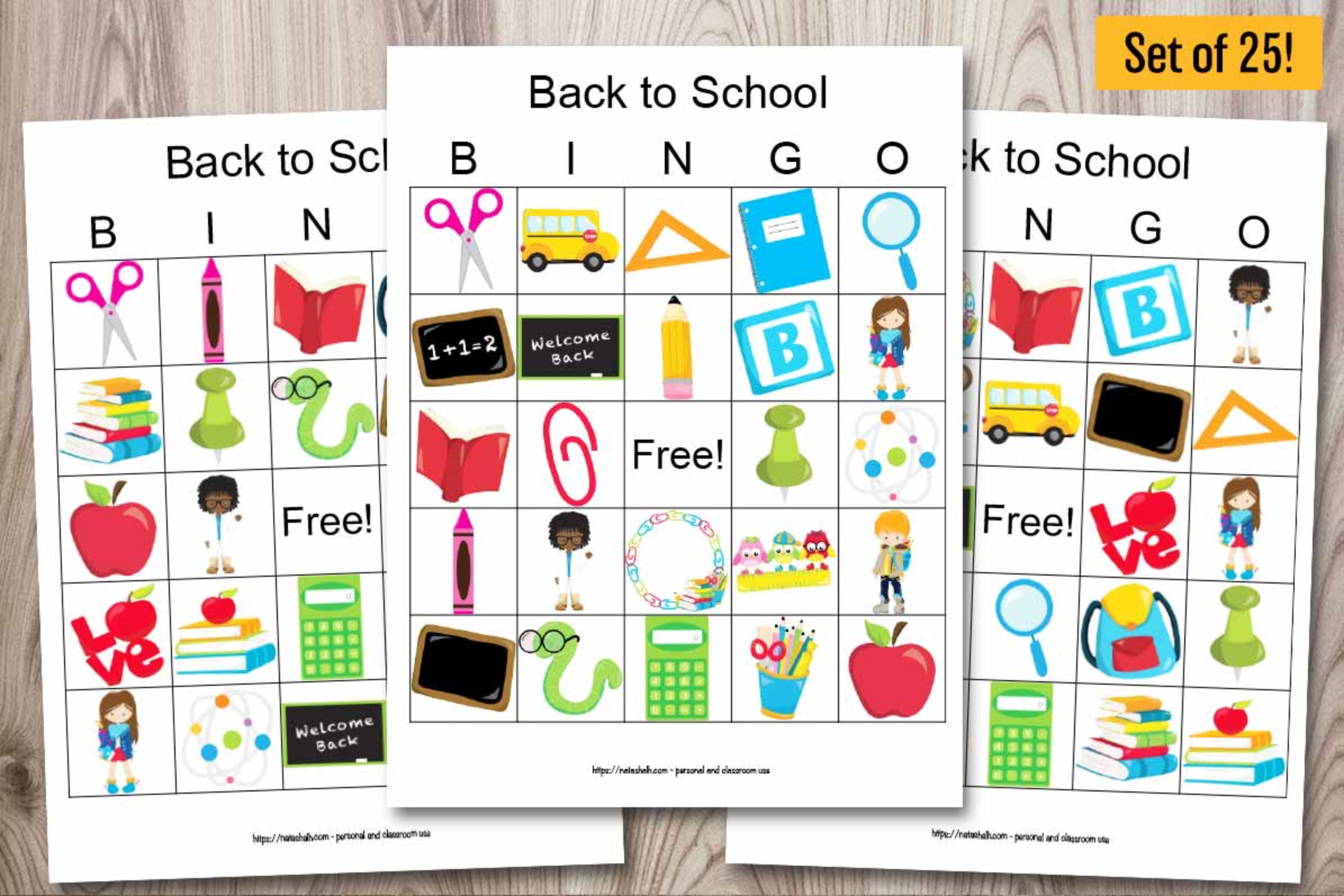 25 Back to School Bingo Cards - Classroom Set