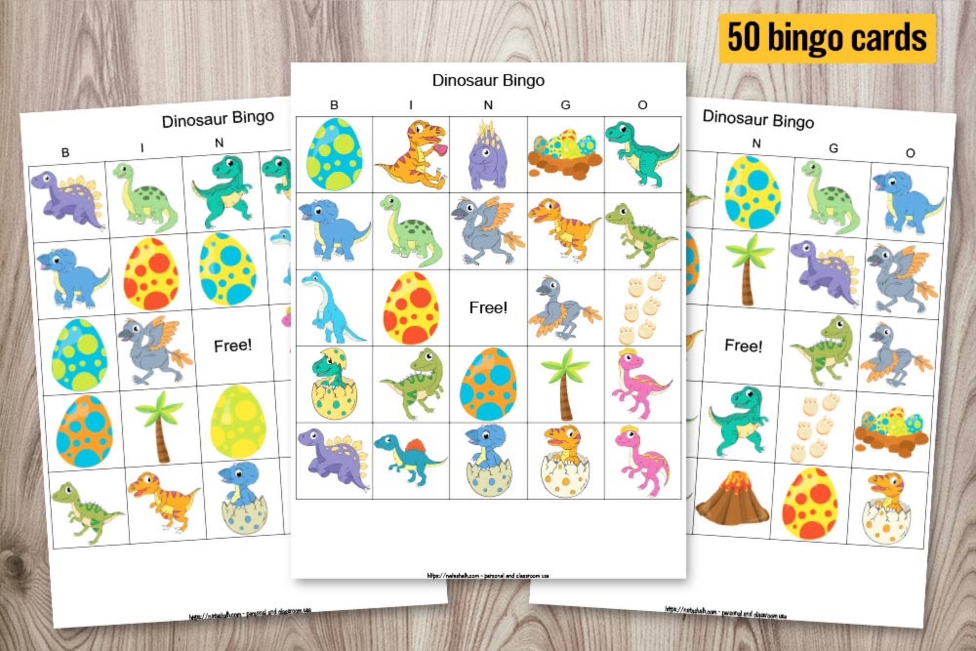 Dinosaur Bingo for Large Group (50 Cards)