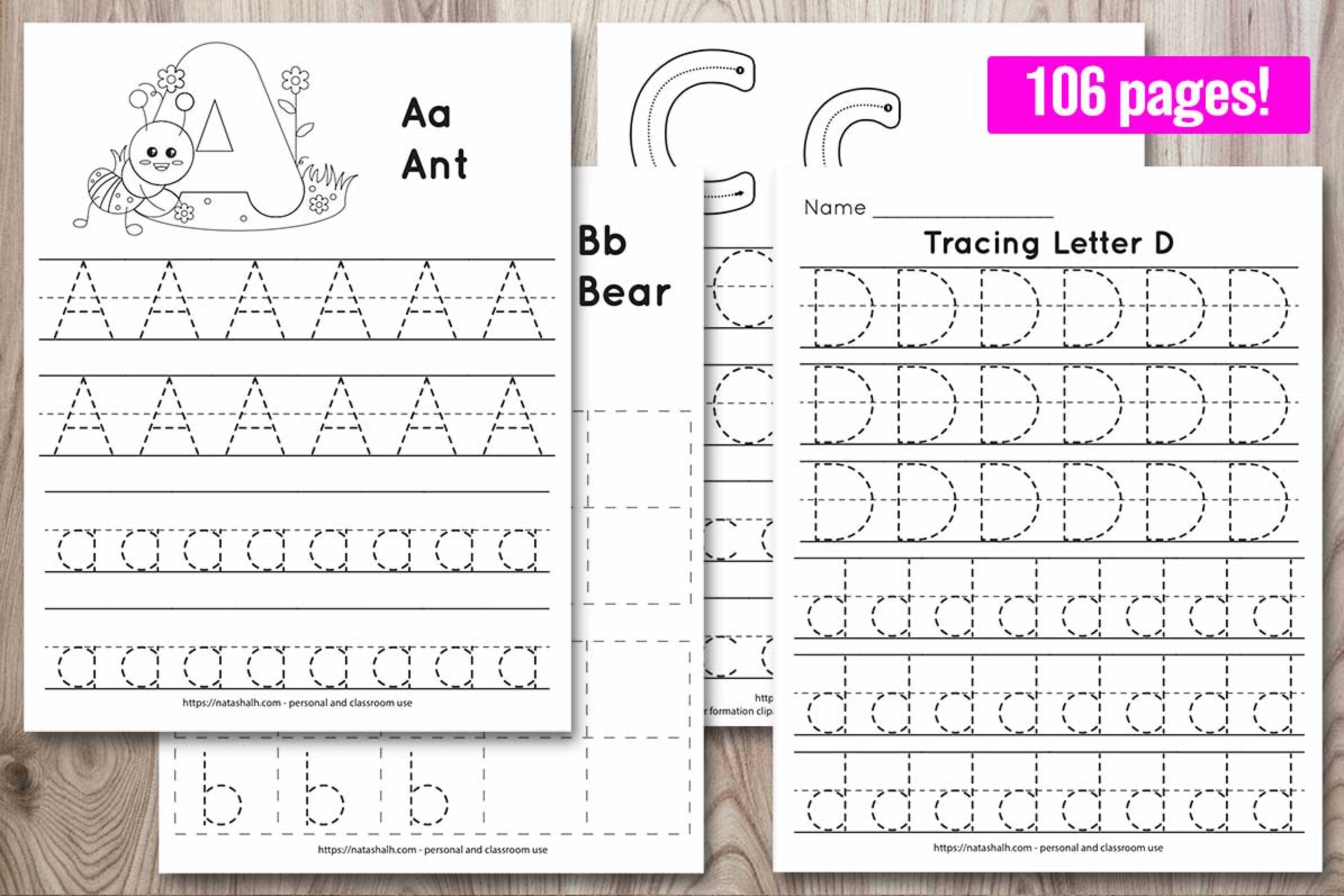 Alphabet Tracing Pages - Full Alphabet with Bonus Writing Practice Pages