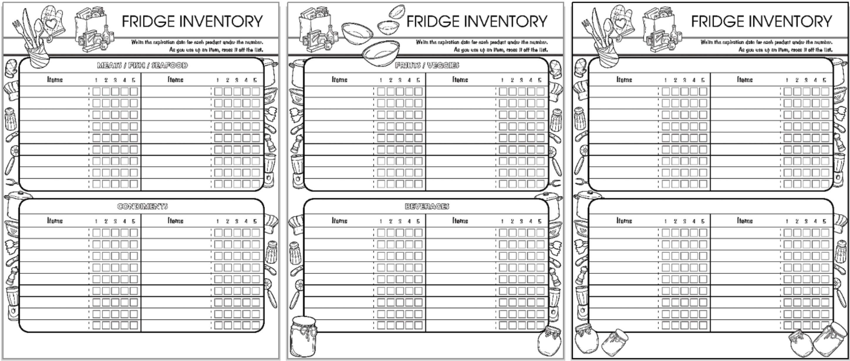 Printable Household Inventory Binder - Pantry, Freezer, Kitchen, and Household Items Inventory Sheet