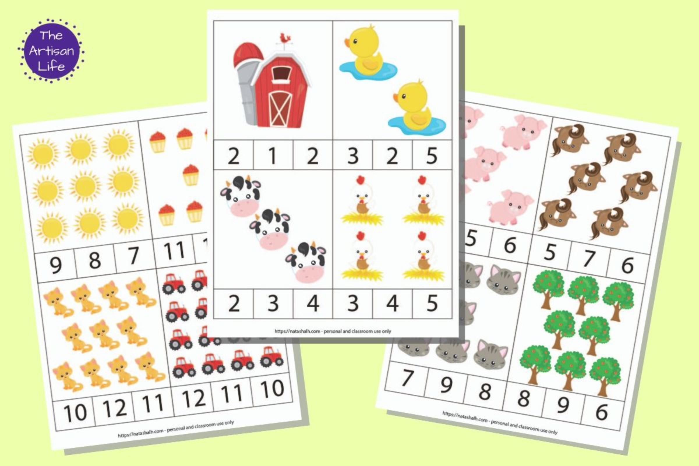 Farm Counting Clip Cards for Preschool (counting clip cards 1-12)