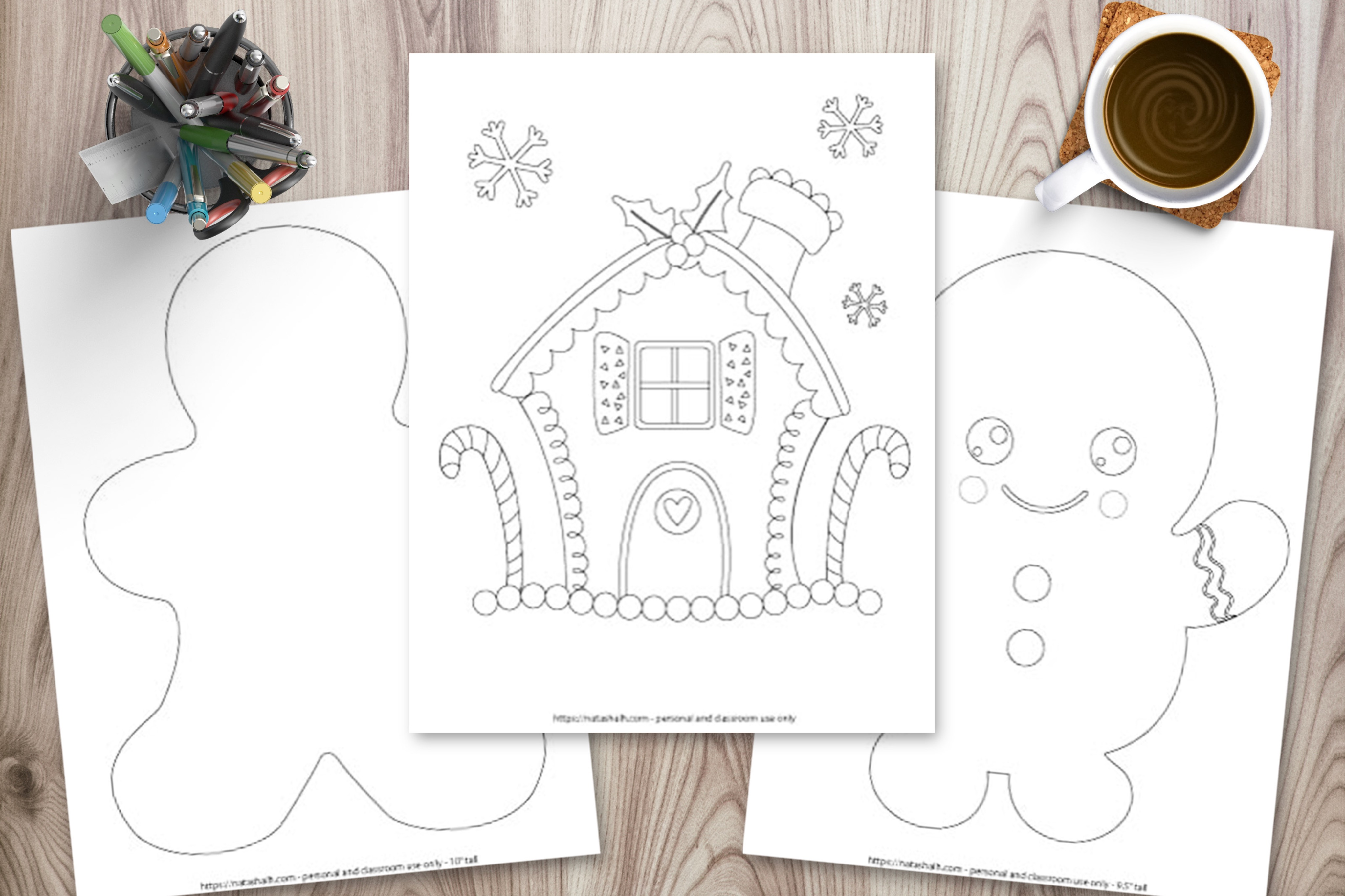 Gingerbread man templates & coloring pages