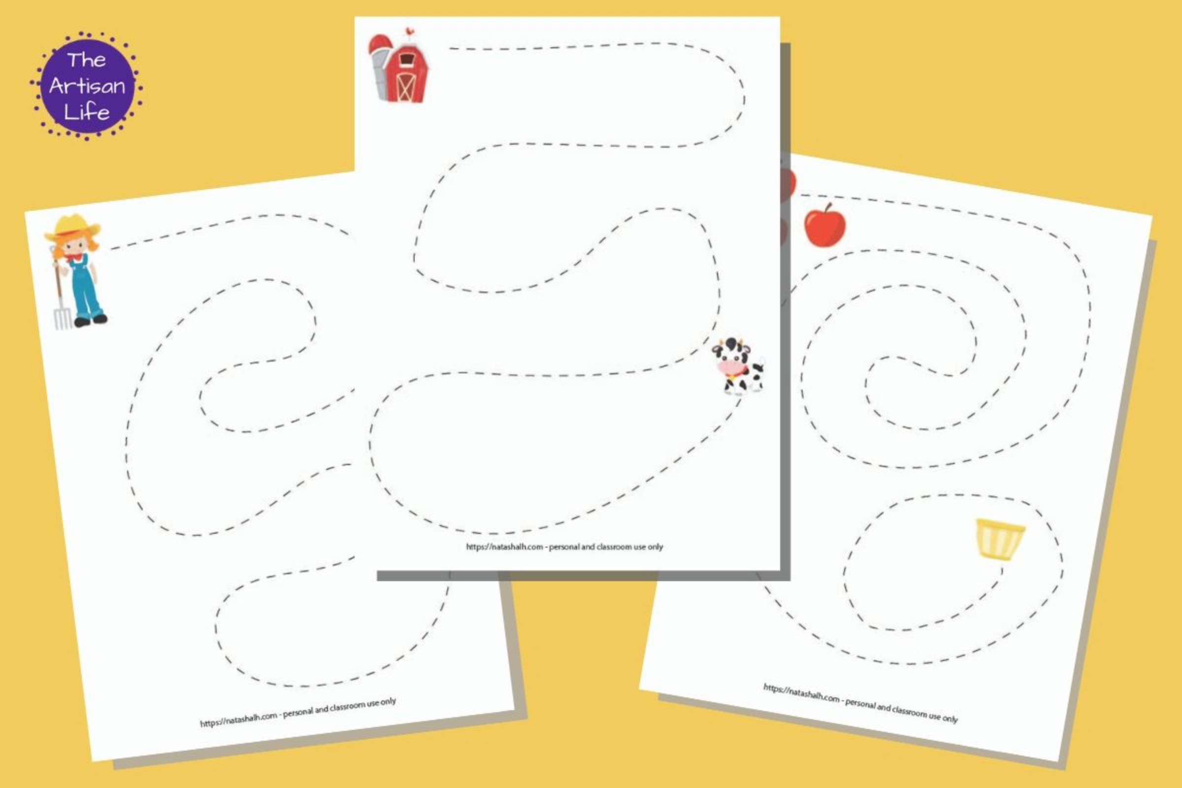 Farm Themed Fine Motor Practice Tracing Pages & Pre-Writing Worksheets