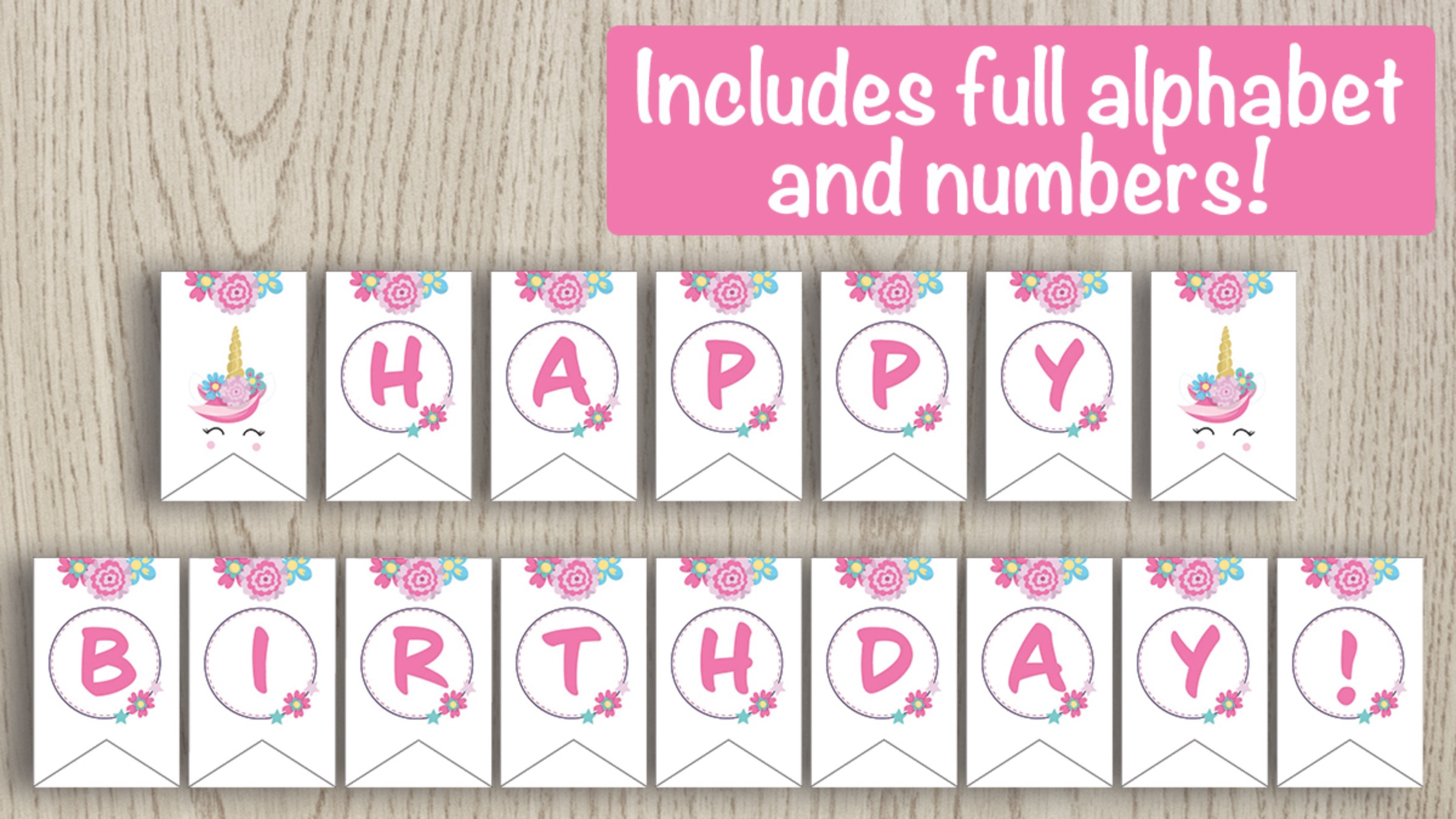 Printable Unicorn Banner - Full alphabet and numbers included!