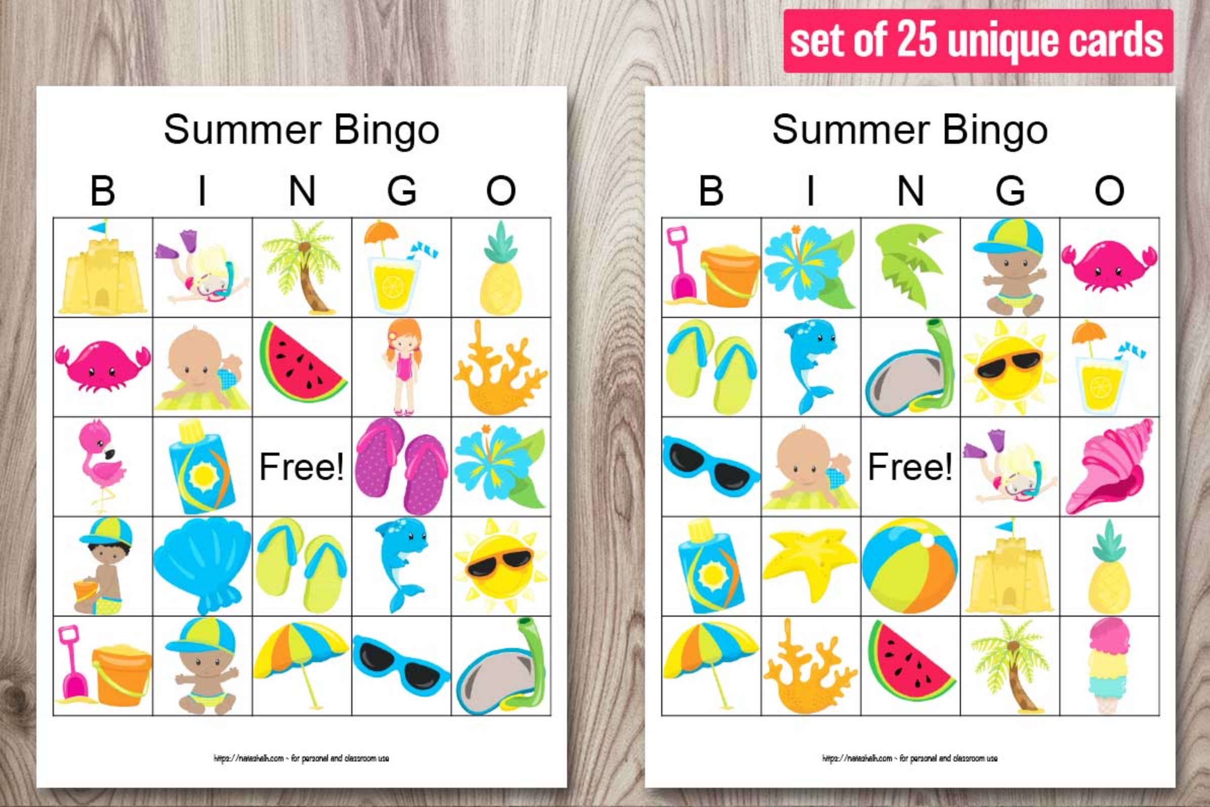 25 Printable Summer Bingo Boards - Summer Cookout Party Bingo