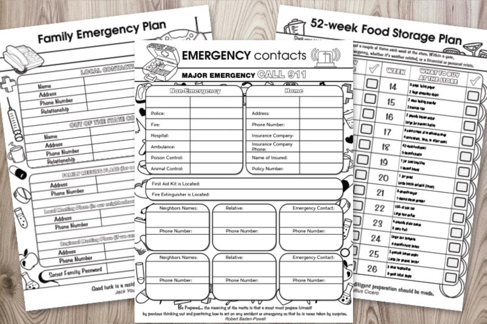 Family Emergency Planner Printables