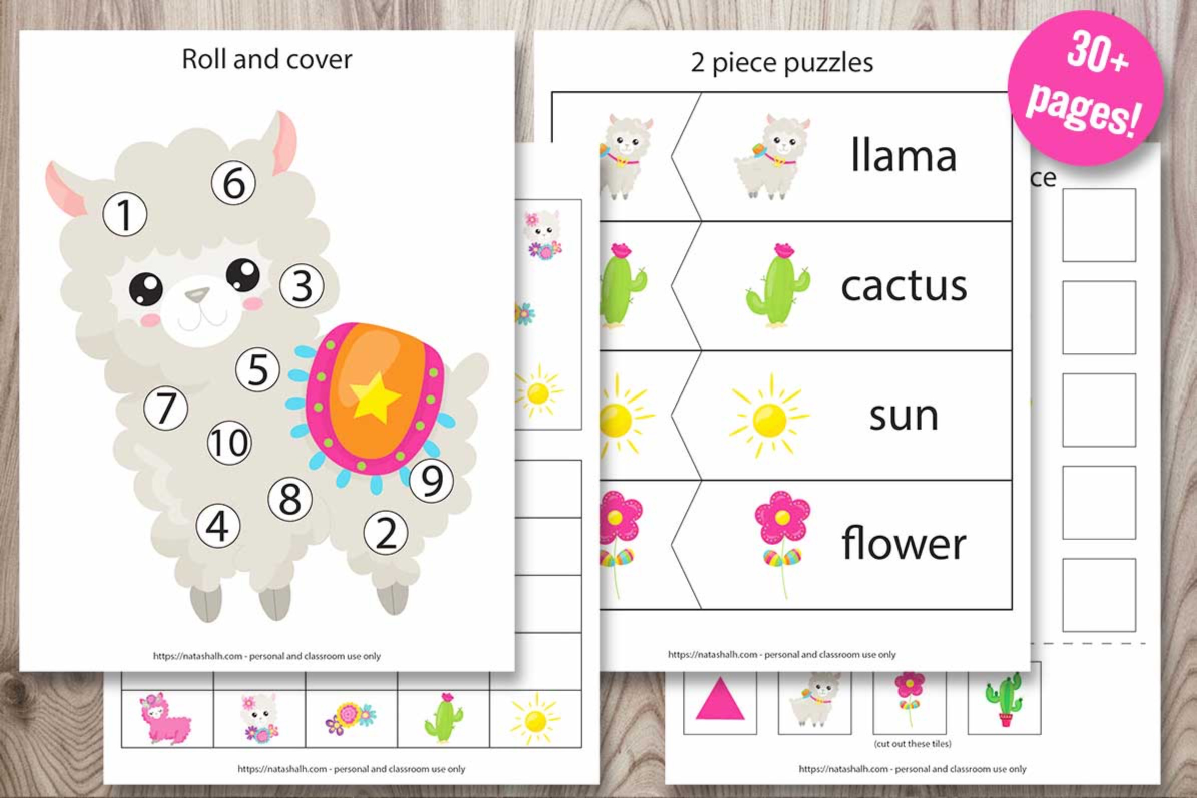 Llama Preschool Learning Pack