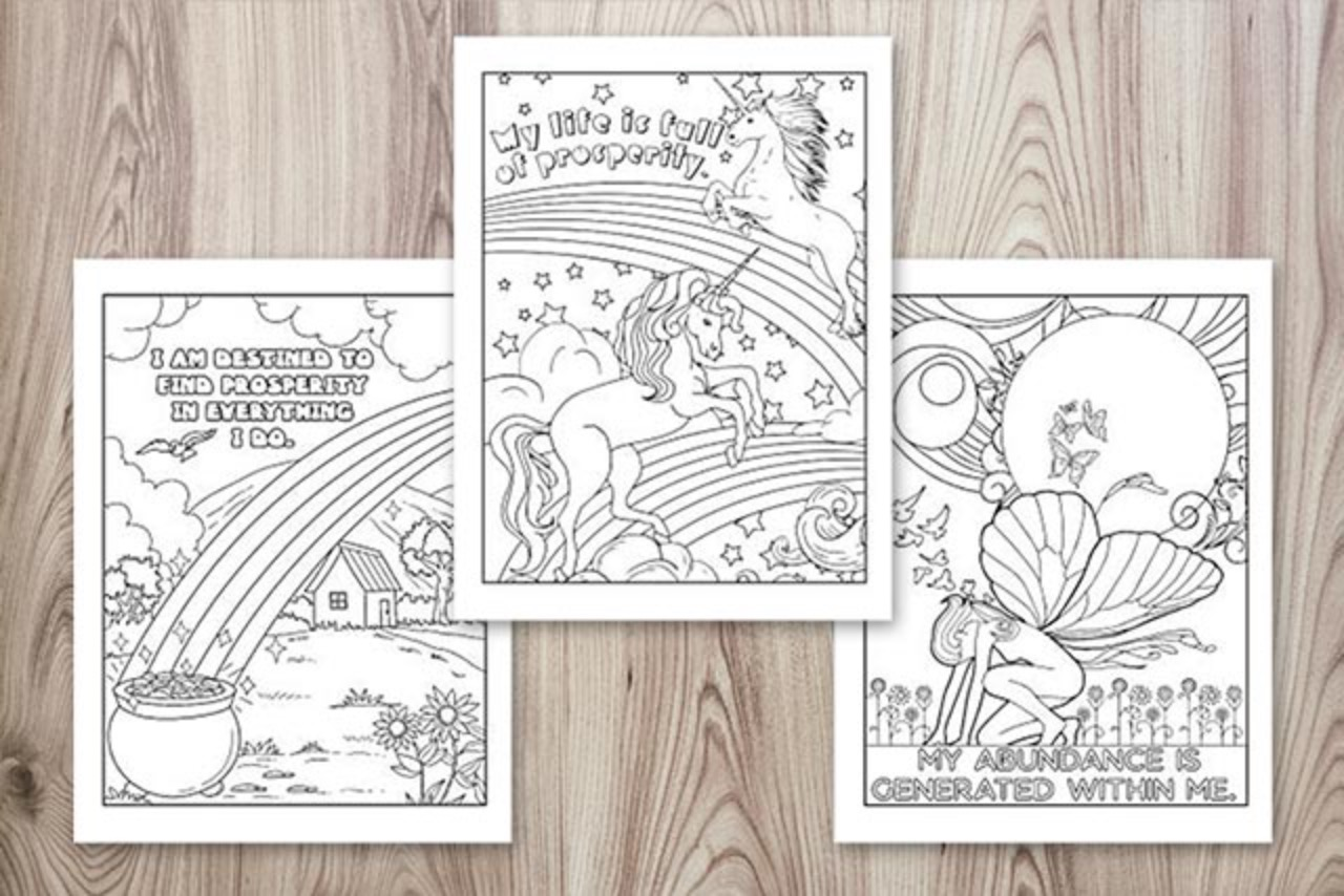 Wealth Affirmation Coloring Pages