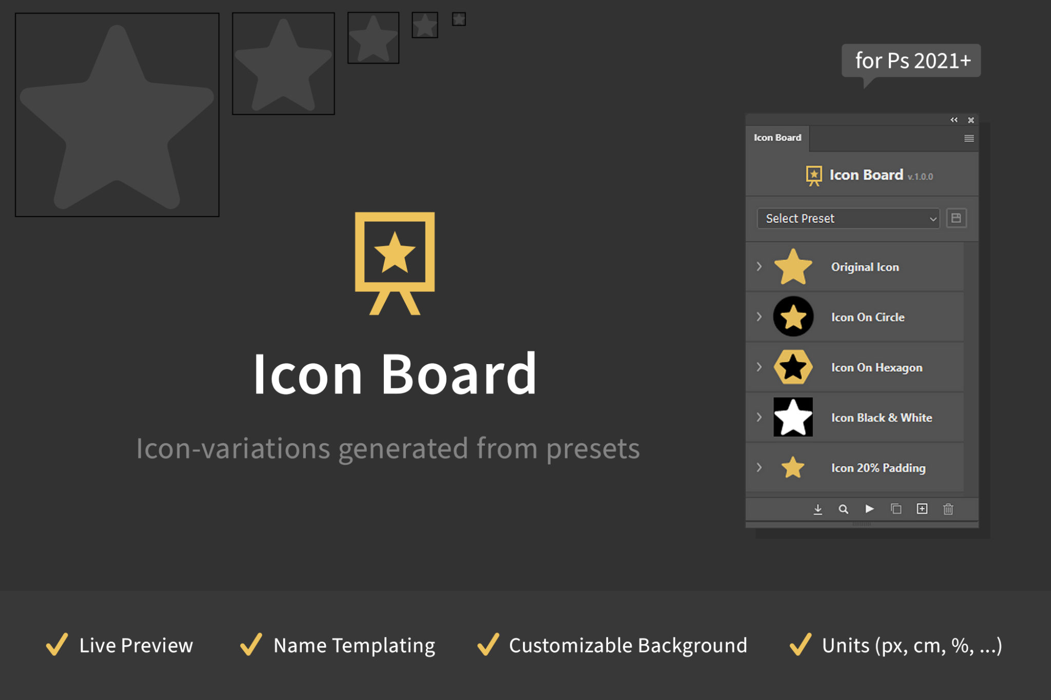 Icon Board - Icon Variations Generated From Presets
