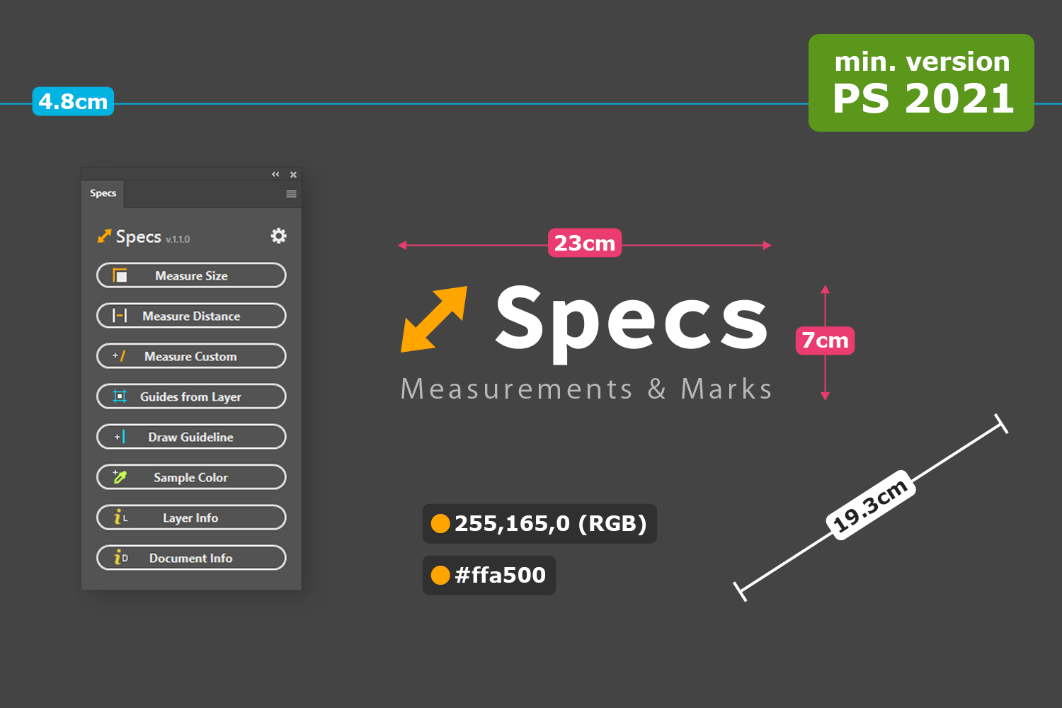 Specs - Custom Measures & Marks (for Photoshop 2021+)
