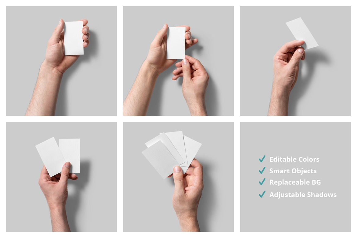 5 Handheld Business Card Mockups