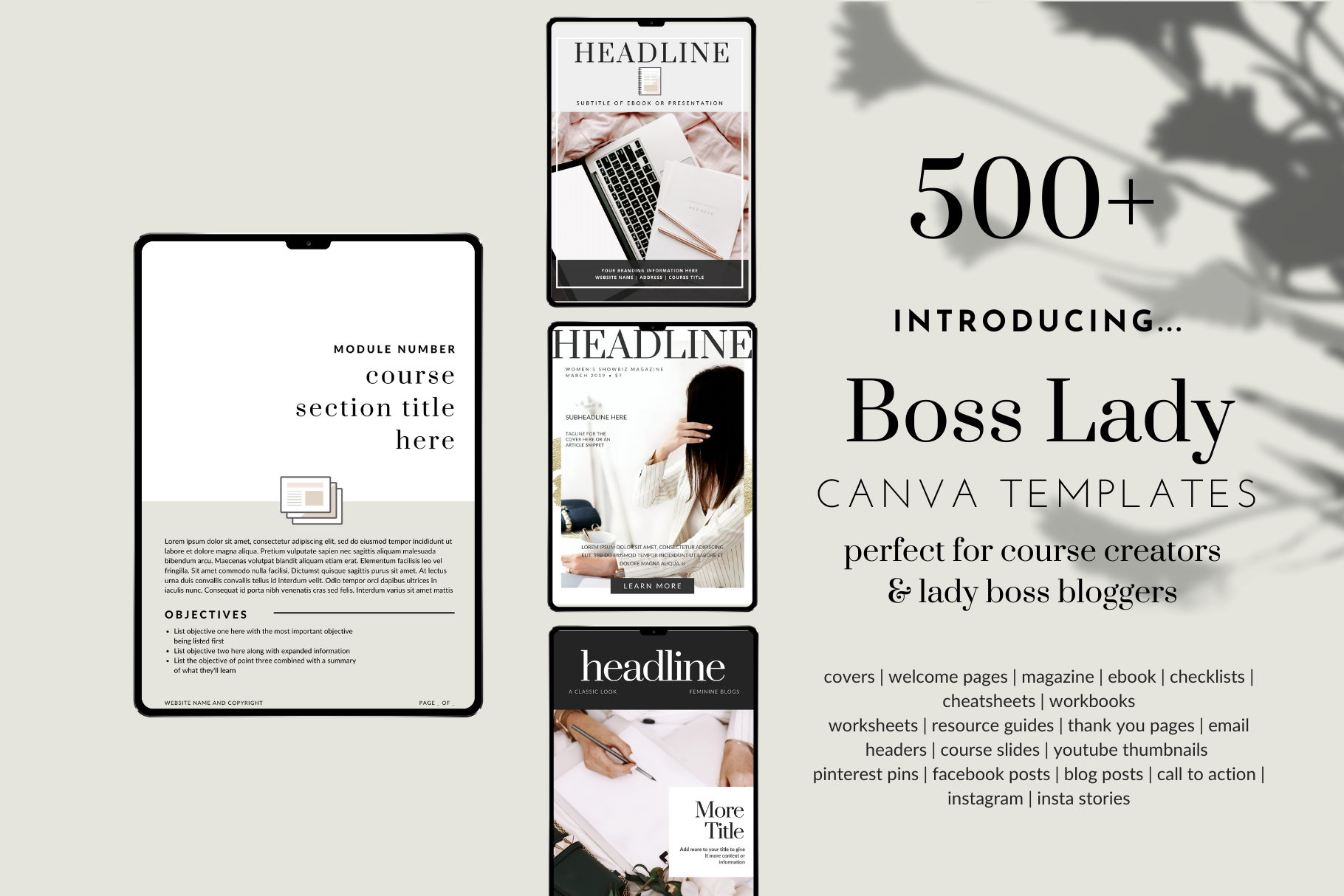 500+ Canva Templates - Lady Boss Design - for Course Creators & Lady Boss Bloggers