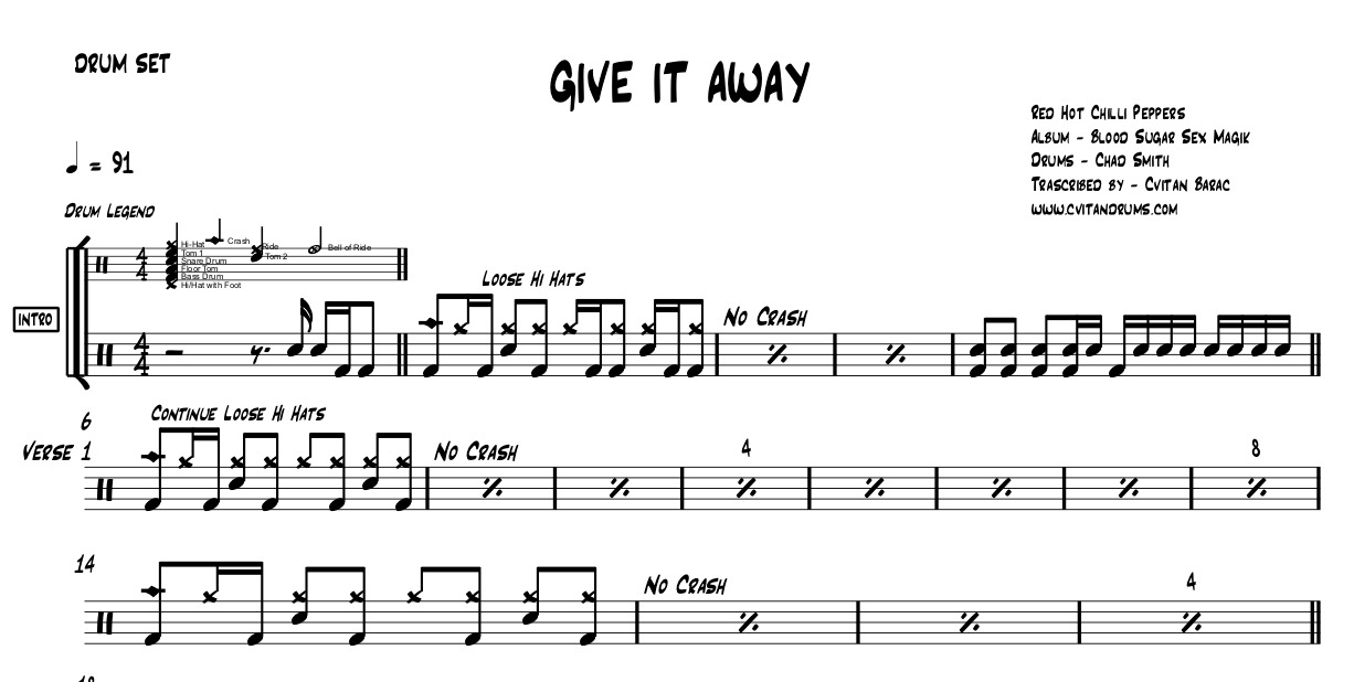 GIVE IT AWAY full drum chart - Red Hot Chilli Pepper - Chad Smith
