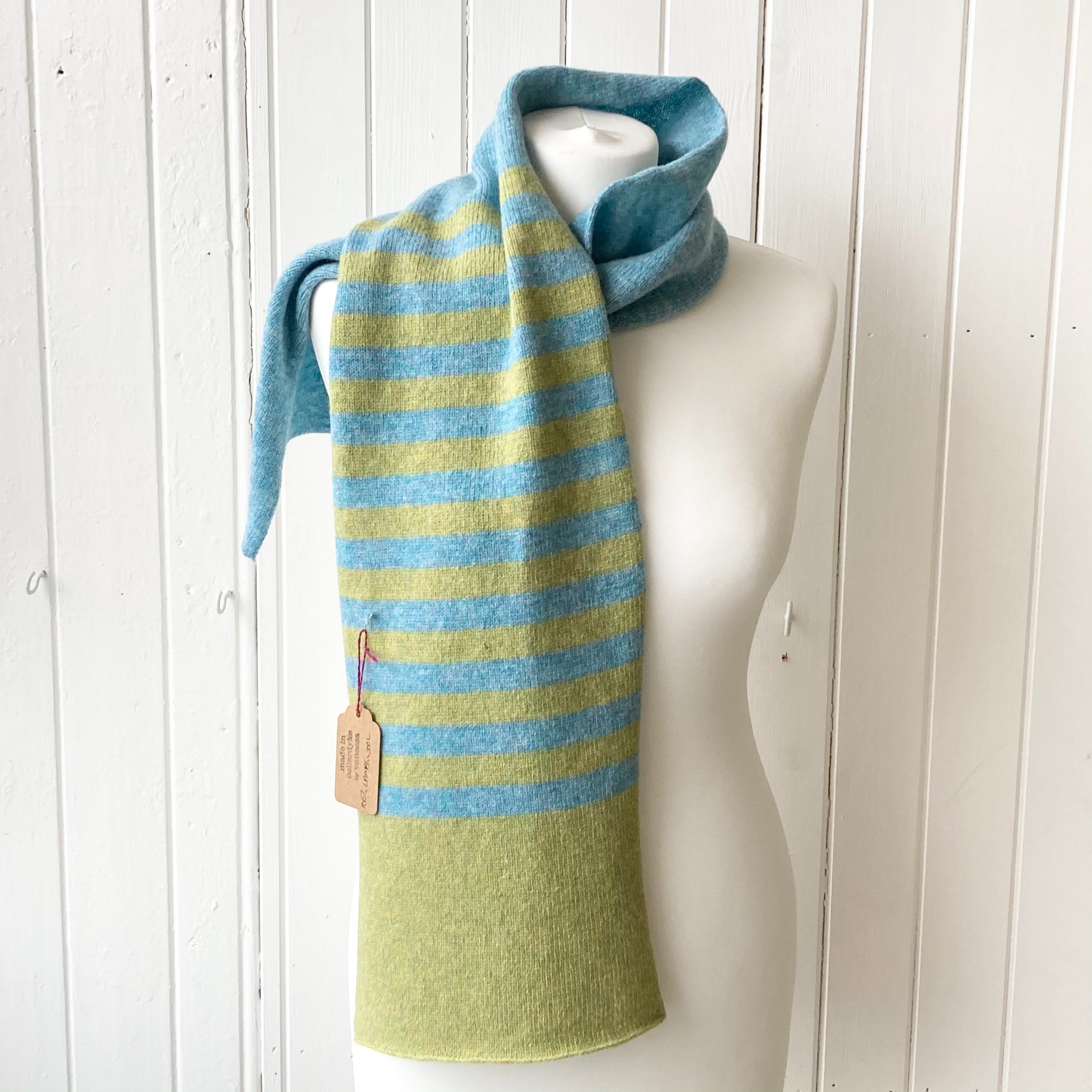 light green and duck egg striped scarf