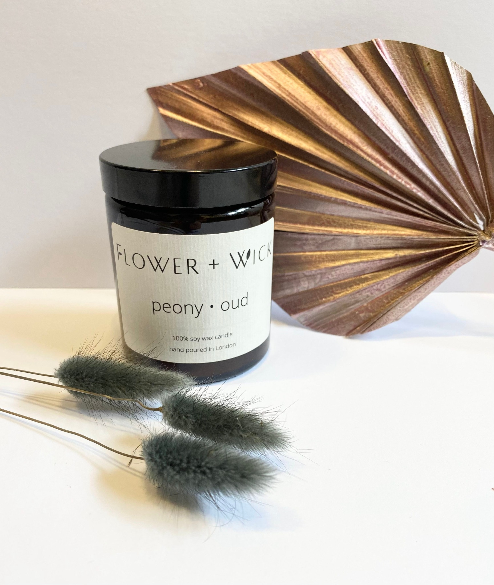 Flower + Wick: Peony and Oud scented soy candle