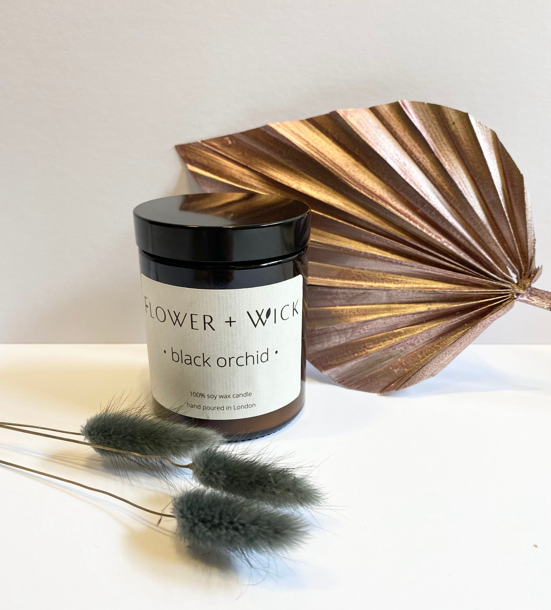 Flower + Wick: Black Orchid scented soy candle
