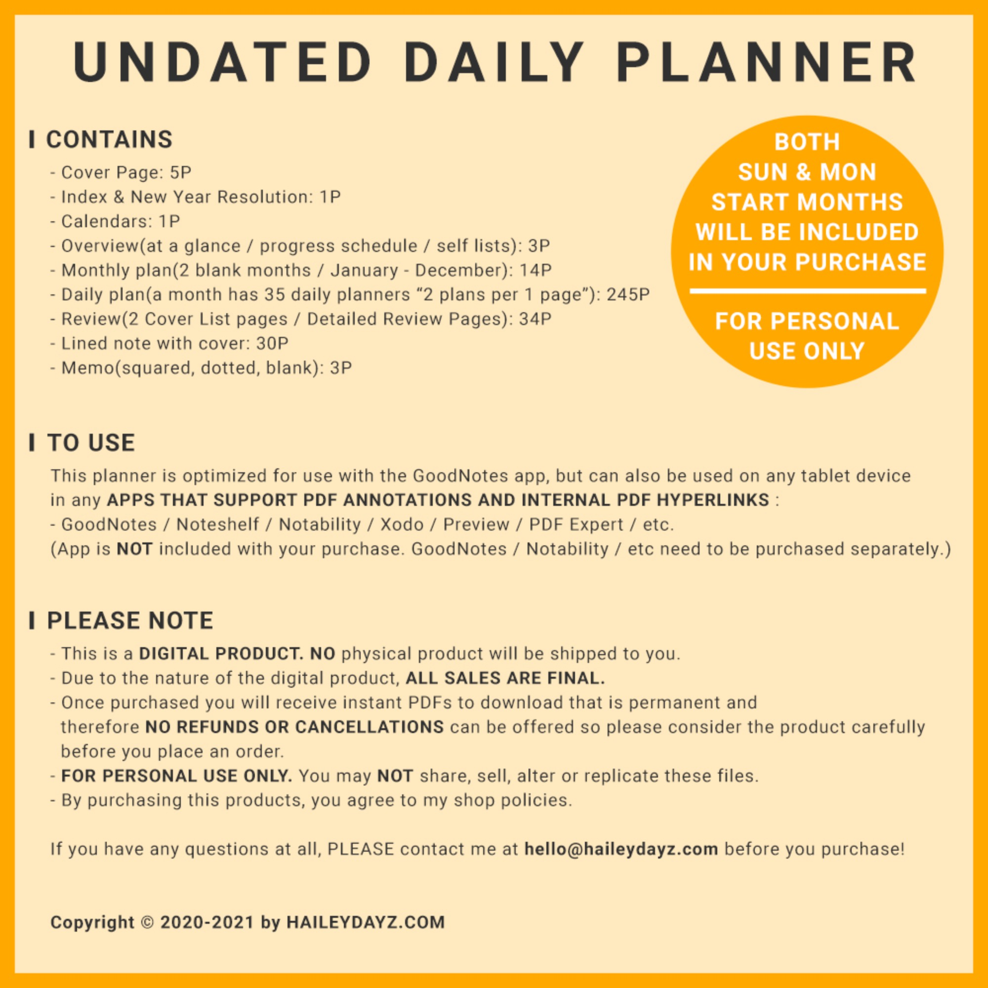 Basic Undated Daily Planner