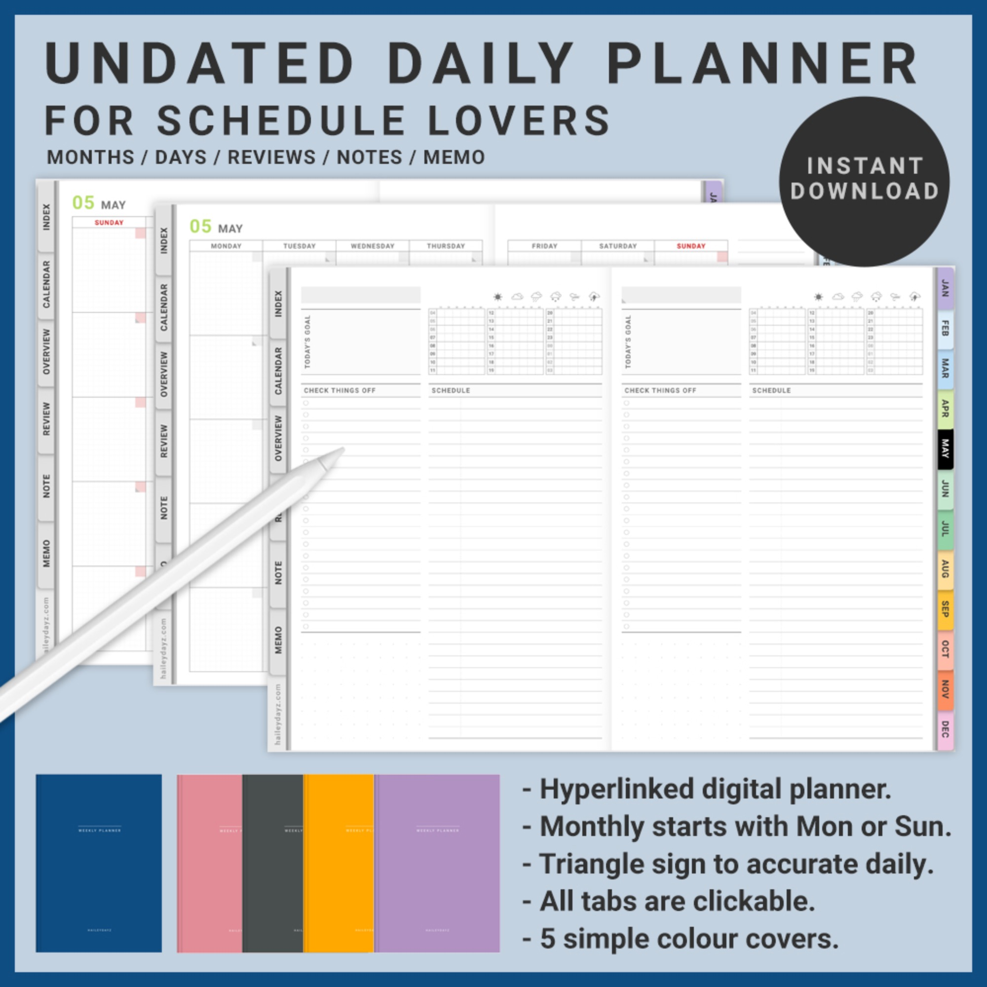 Undated Schedule Lover Planner