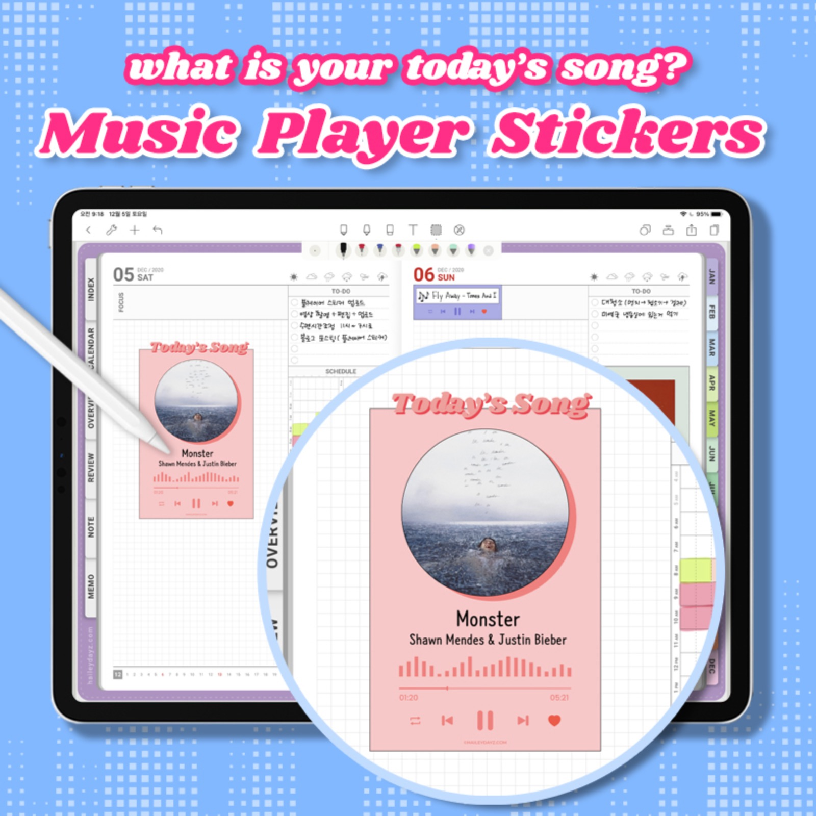Music player stickers