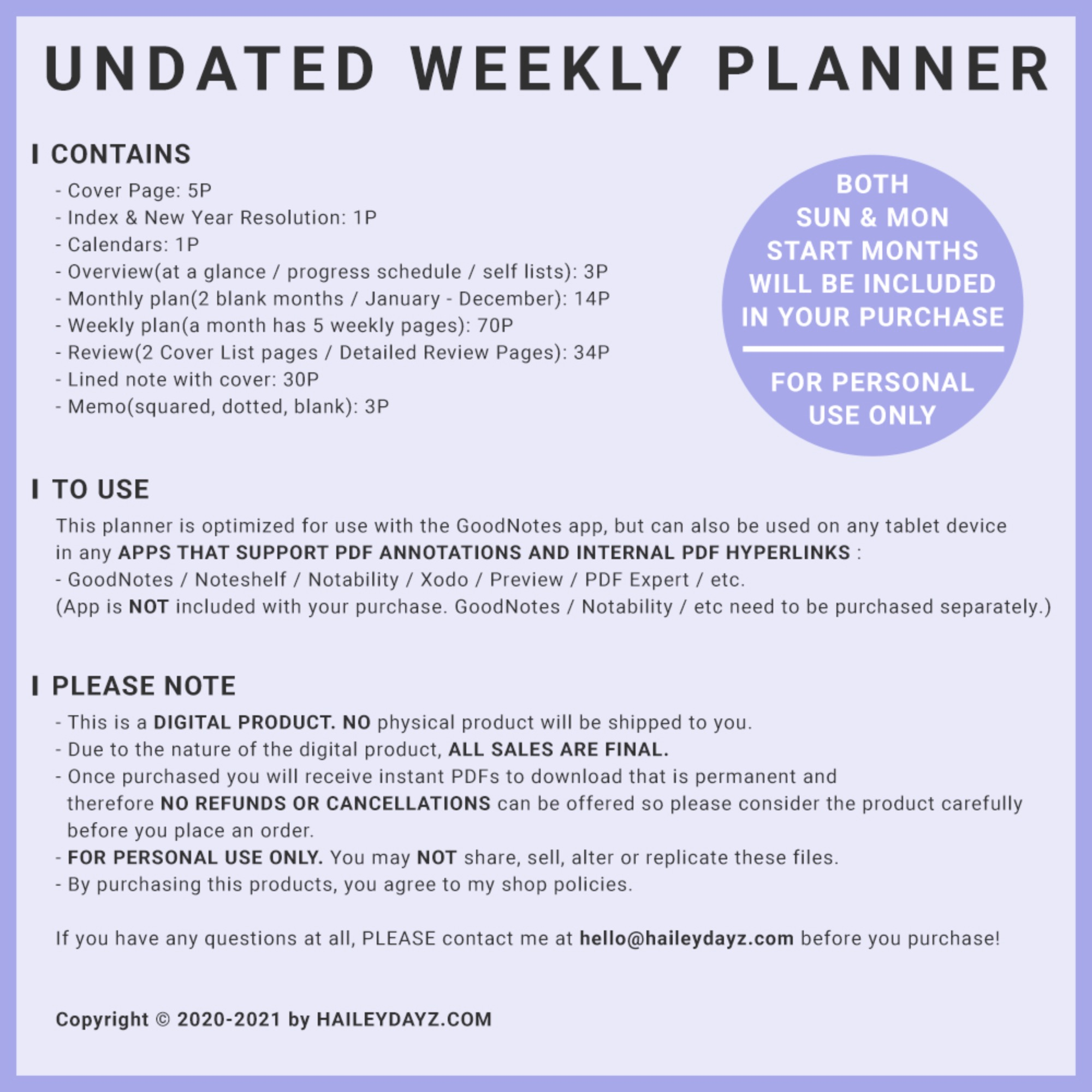 Basic Undated Weekly Planner