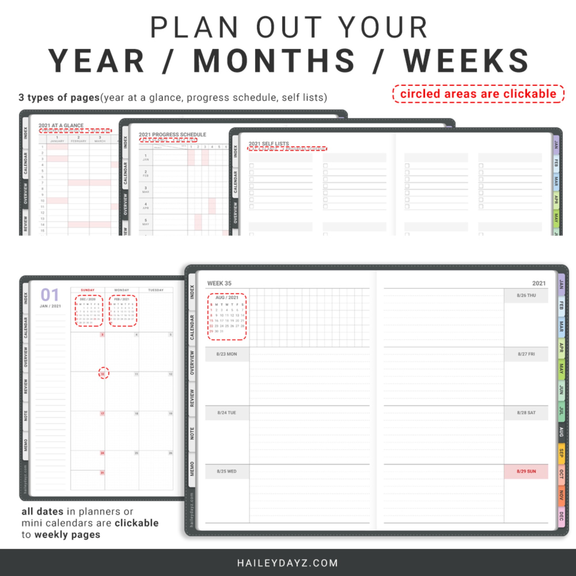 2021 Weekly Planner(Gray)