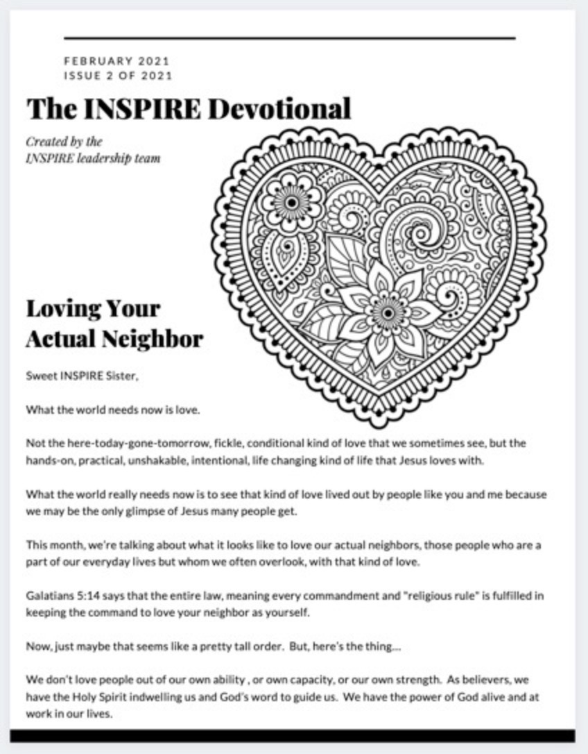 February  2021 The INSPIRE Devotional: Loving Your Actual Neighbor