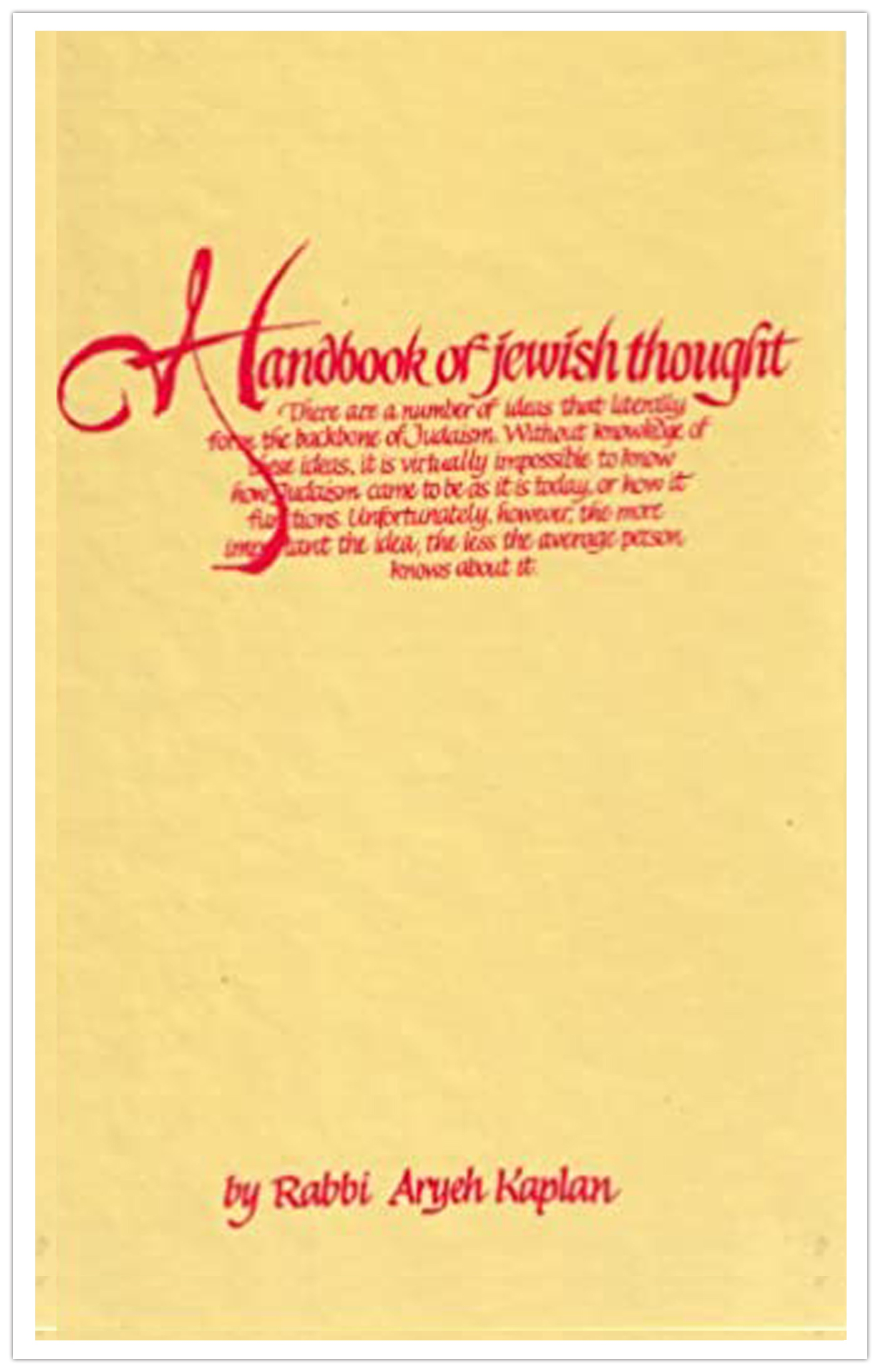 Handbook of Jewish Thought, Volume 1
