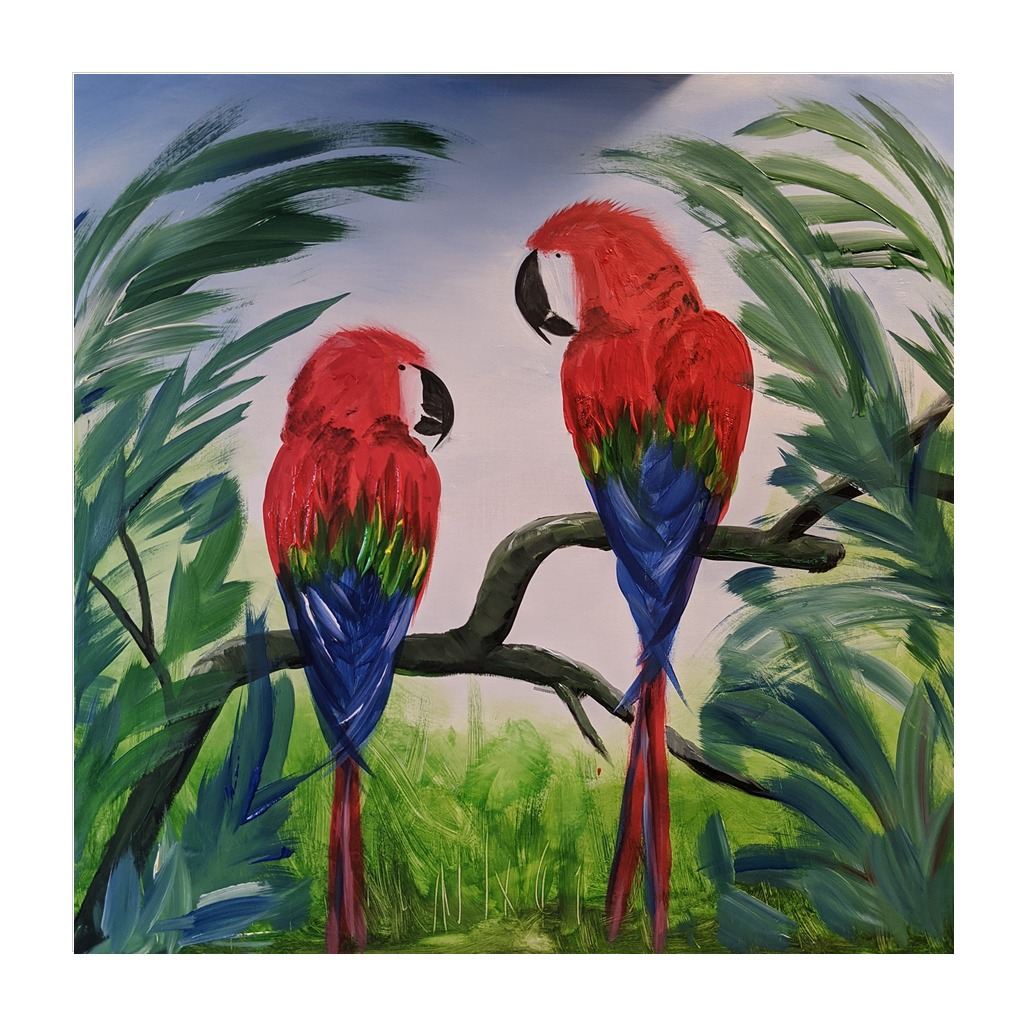 #198- 8th June 2021 7pm - Mr/Mrs Macaw - nJoyArt ONLINE Painting Session