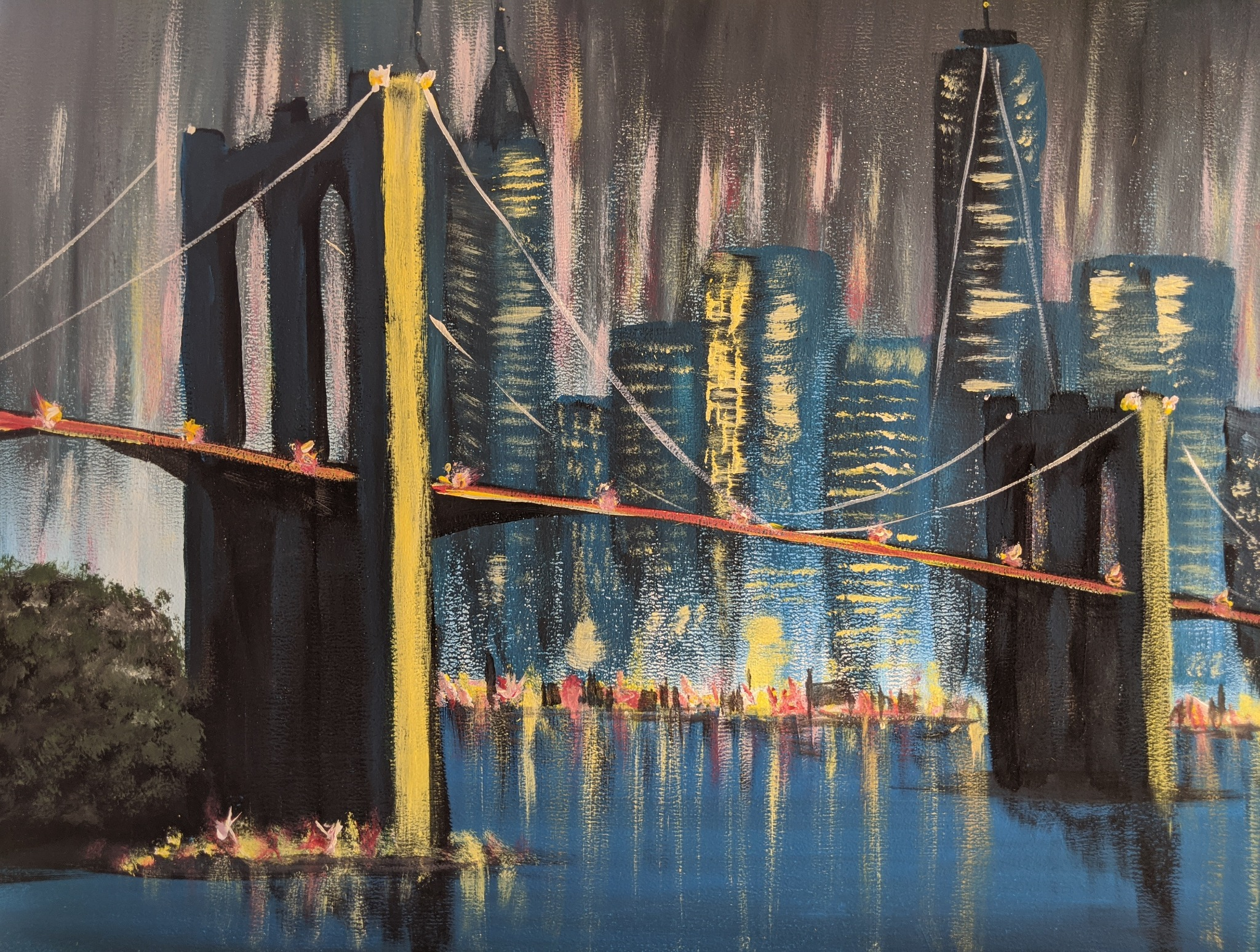 #194 - 1st June 2020 7pm - Brooklyn Bridge – nJoyArt Painting Session at The Griffin, Rugby