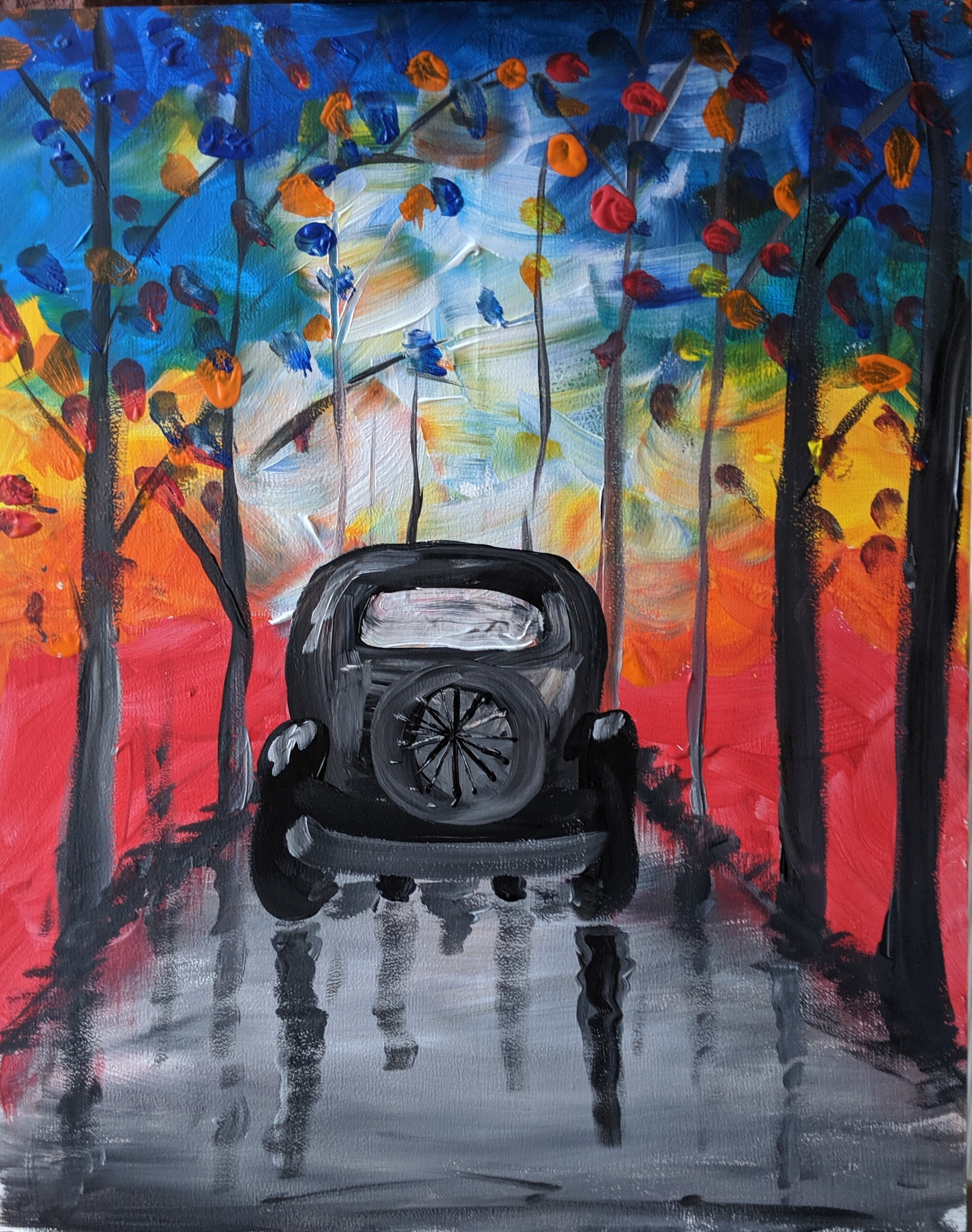 #122 - 27th October 2020 7pm - Quirky Car - nJoyArt ONLINE Painting Session