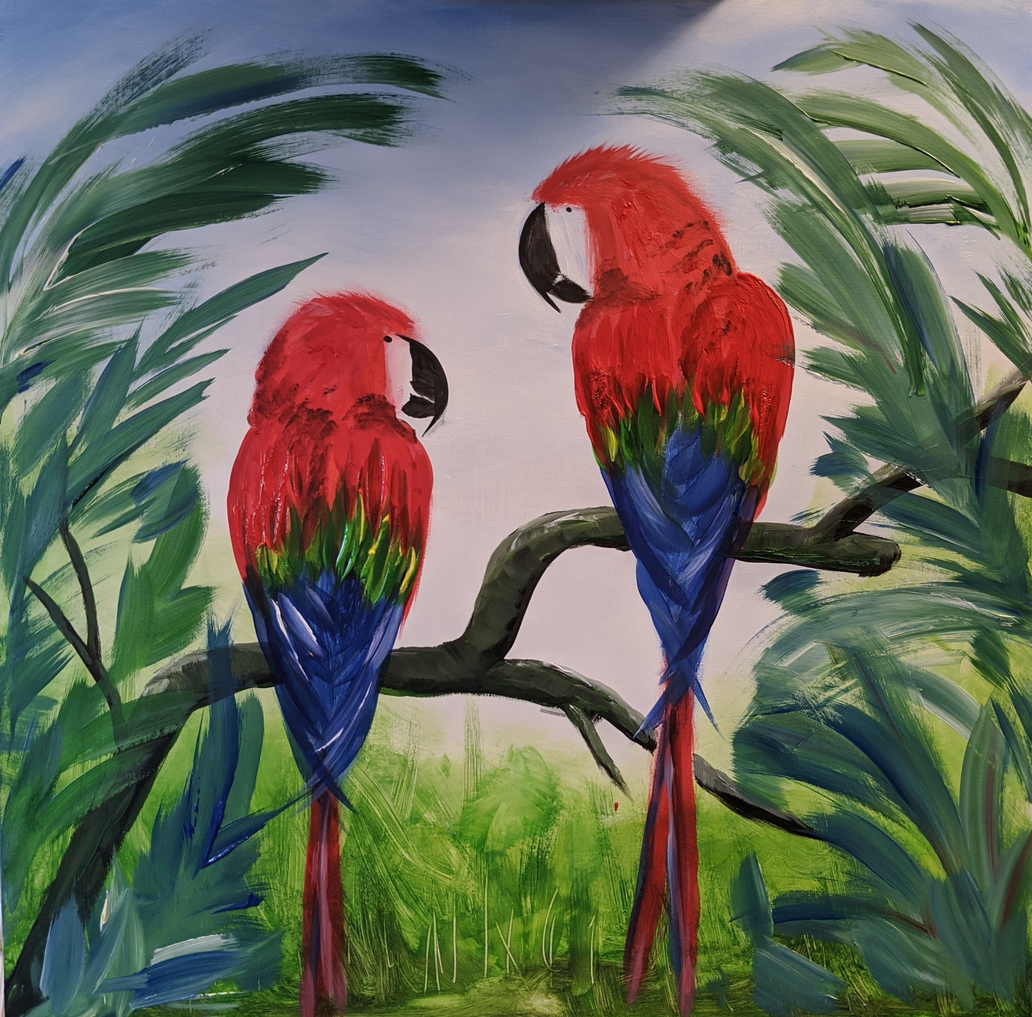 x #118 - 10th October 2020 10am - Mr & Mrs Macaw - nJoyArt ONLINE Painting Session