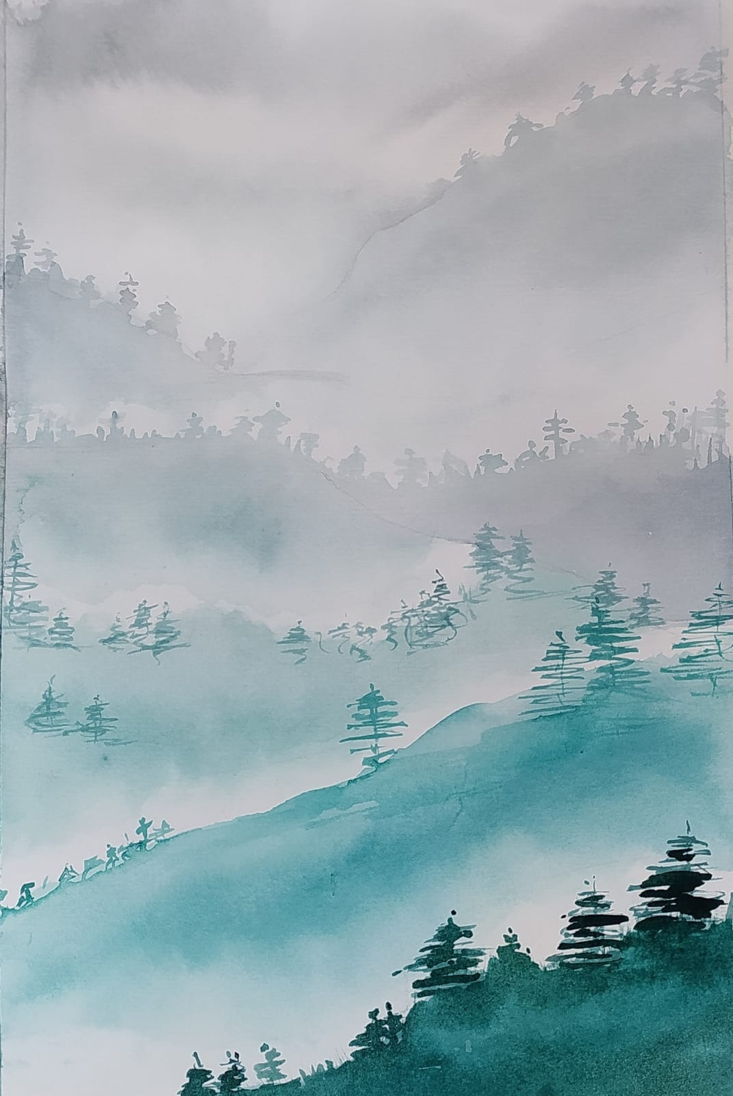 #220C 11th August 2021 7pm - Misty Mountains - nJoyArt ONLINE Watercolour with Lauriel