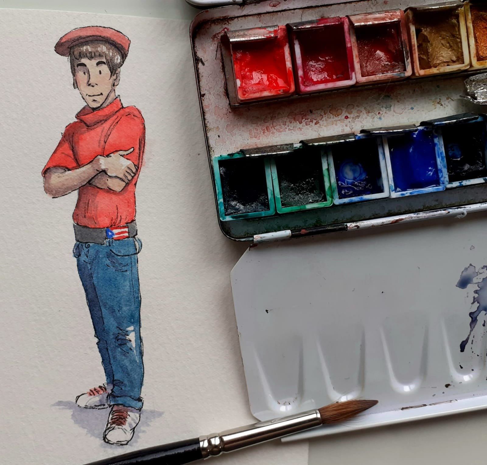 #219R 8th August 2021 11am - Watercolour Ilustration ONLINE with Rebekah - Teen from Puerto Rico
