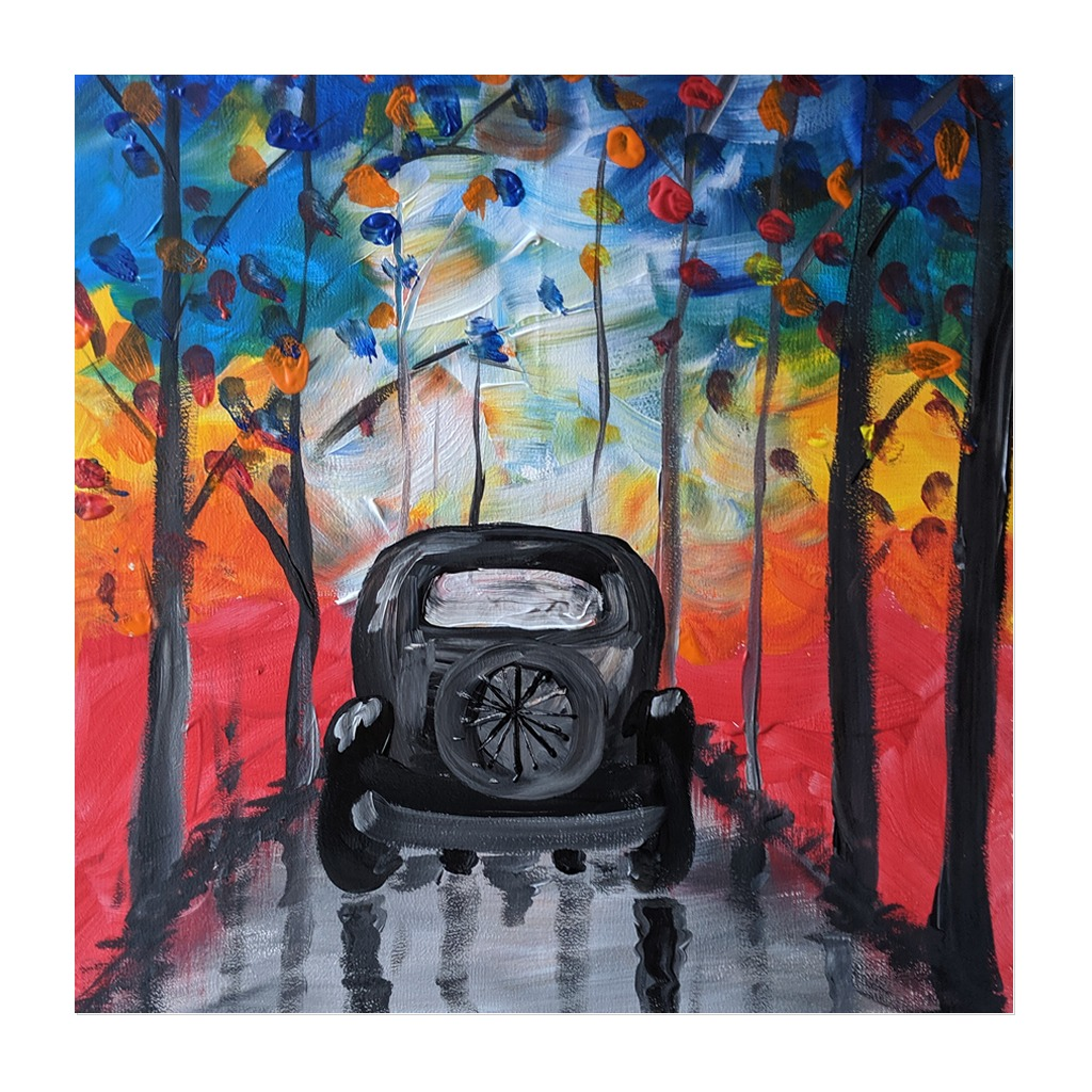 #196- 3rd June 2021 7pm - Quirky Car - nJoyArt ONLINE Painting Session