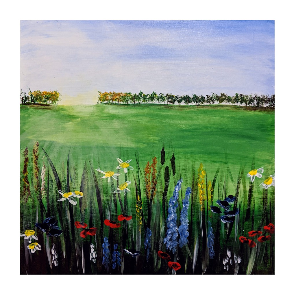 #182 - 20th April 2021 7pm - Spring Meadow - nJoyArt ONLINE Painting Session