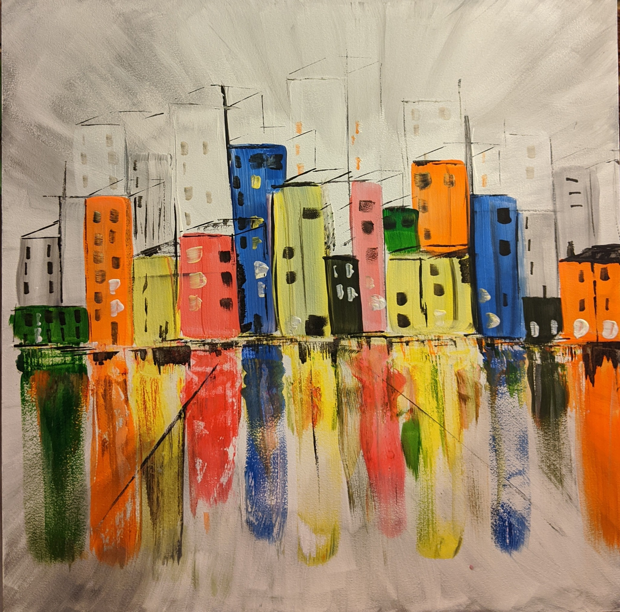 x #117 - 6th Oct 2020 7pm - Abstract Buildings – nJoyArt Painting Session at The Griffin, Rugby
