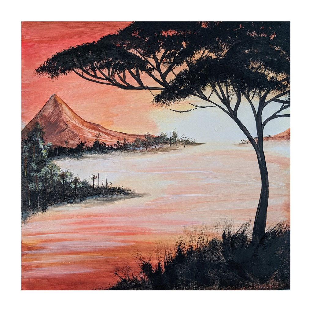 x #171 - 23rd February 2021 7pm - Moonlight Mountain - nJoyArt ONLINE Painting Session