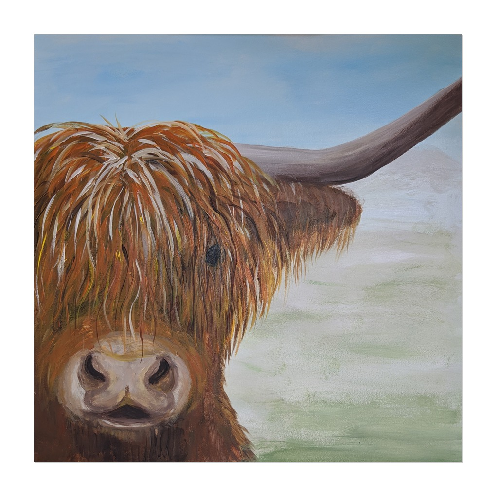 x #175 - 11th March 2021 7pm - Highland Coo - nJoyArt ONLINE Painting Session