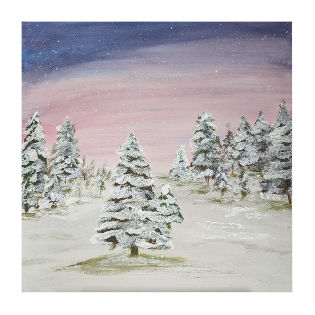 x #138 - 10th December 2020 7pm - Snow Trees - nJoyArt ONLINE Painting Session