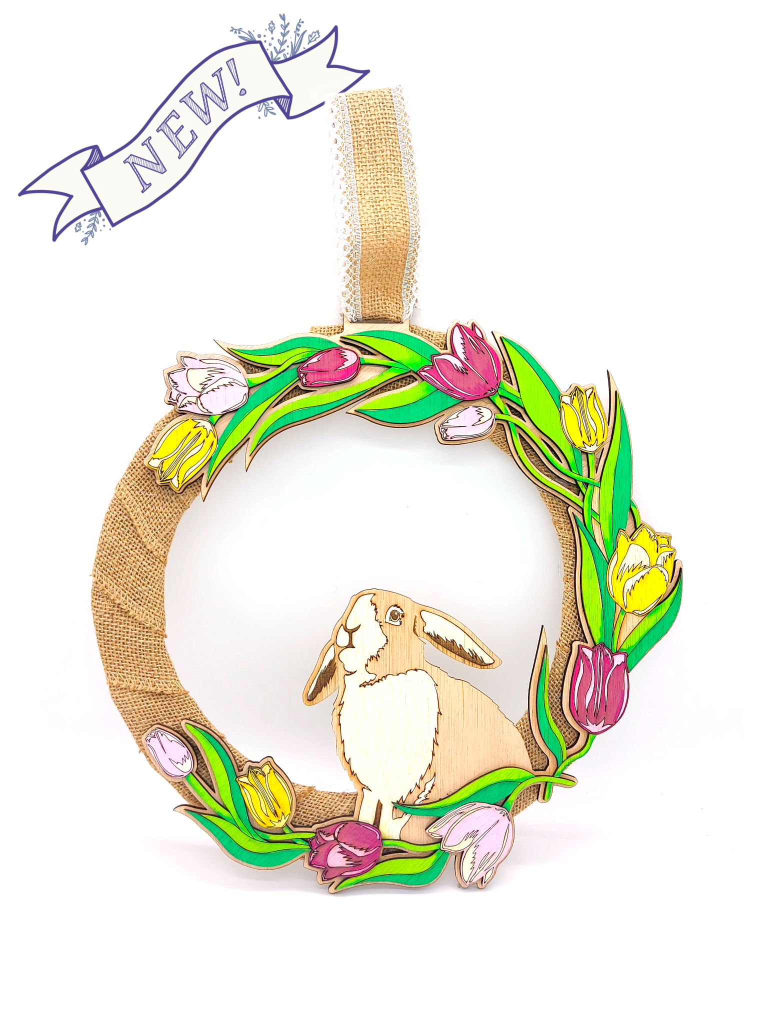 Spring Tulip and Bunny Wreath
