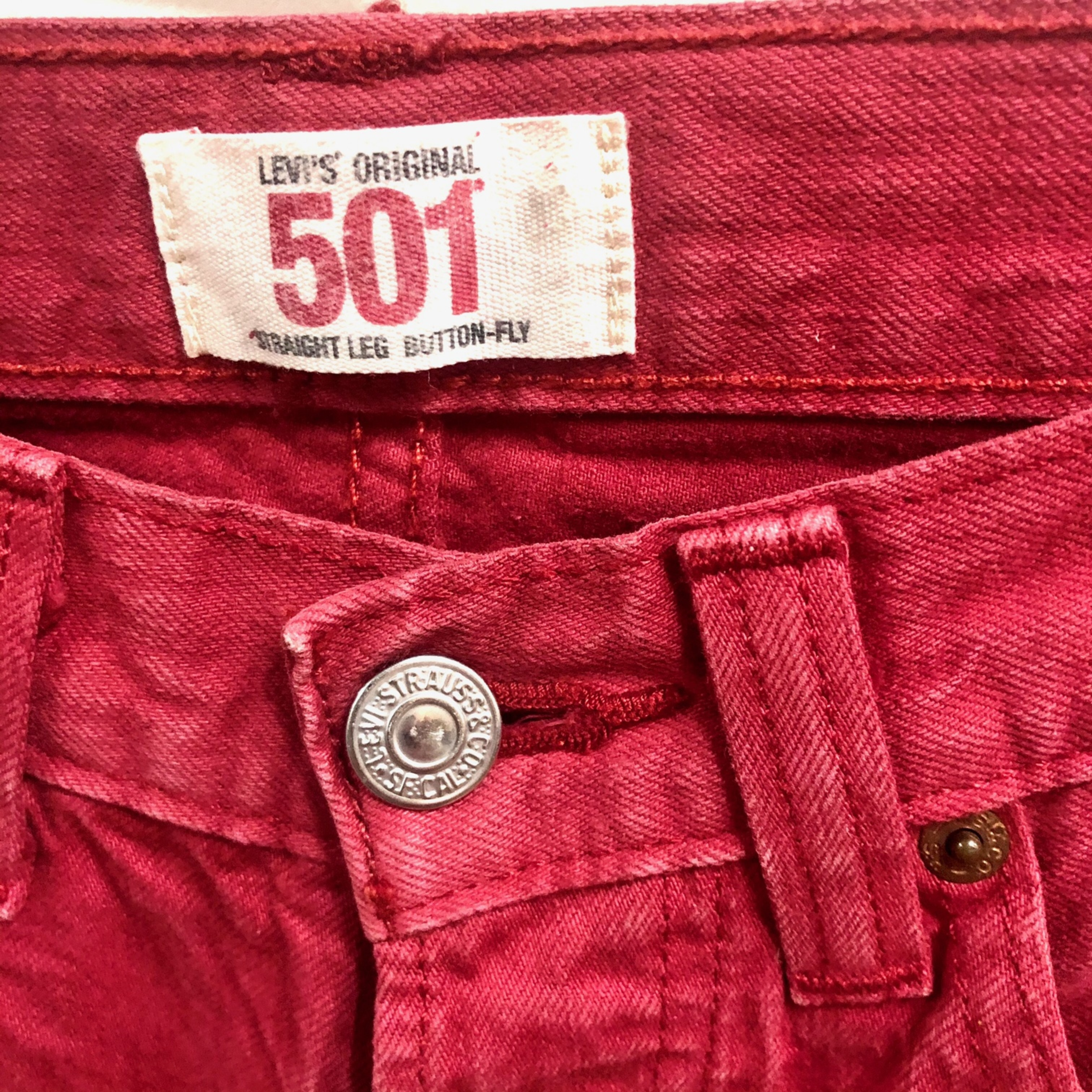 Red Levi's 501 Jeans