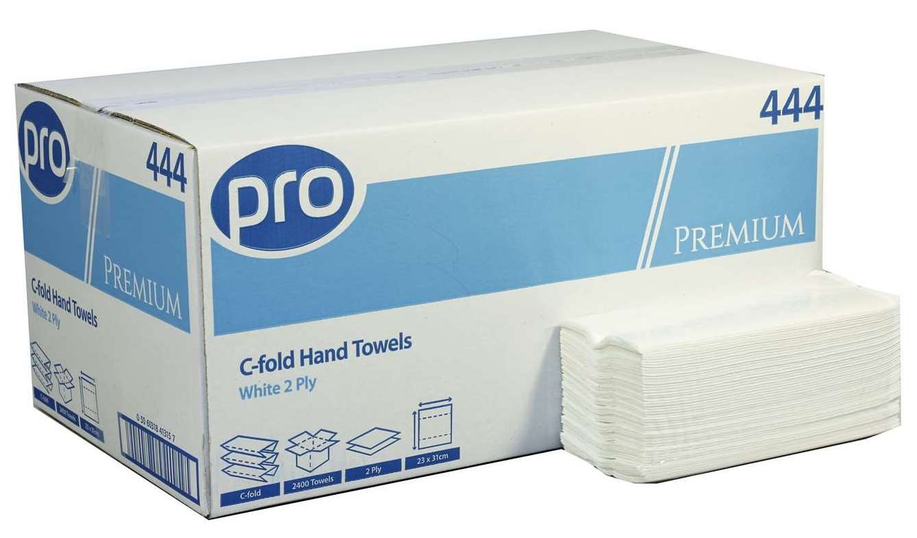 White C-Fold Paper Hand Towels 2-Ply Box of 2400